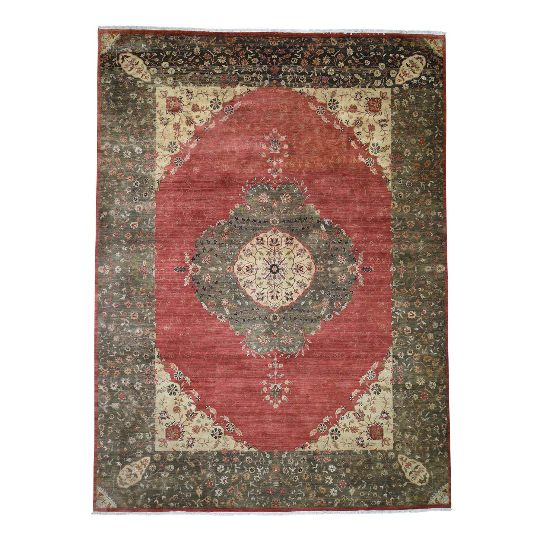 "9'X12'2"" Red,Antiqued Tabriz 300 Kpsi Vegetable Dyes Hand-Knotted Oriental Rug moadecab"