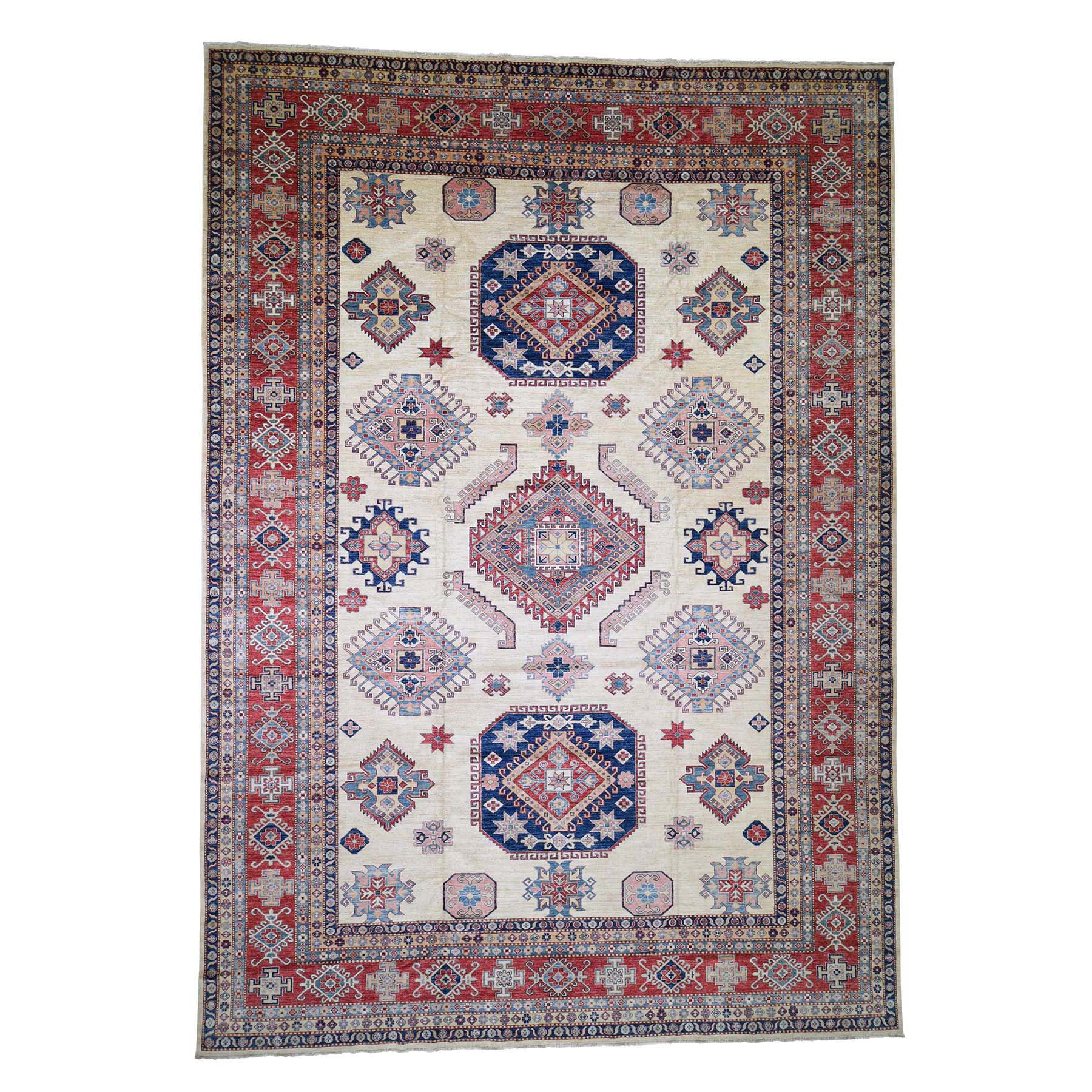 "11'8""X16'6"" Oversize Ivory Super Kazak Pure Wool Hand Knotted Oriental Rug moadecae"