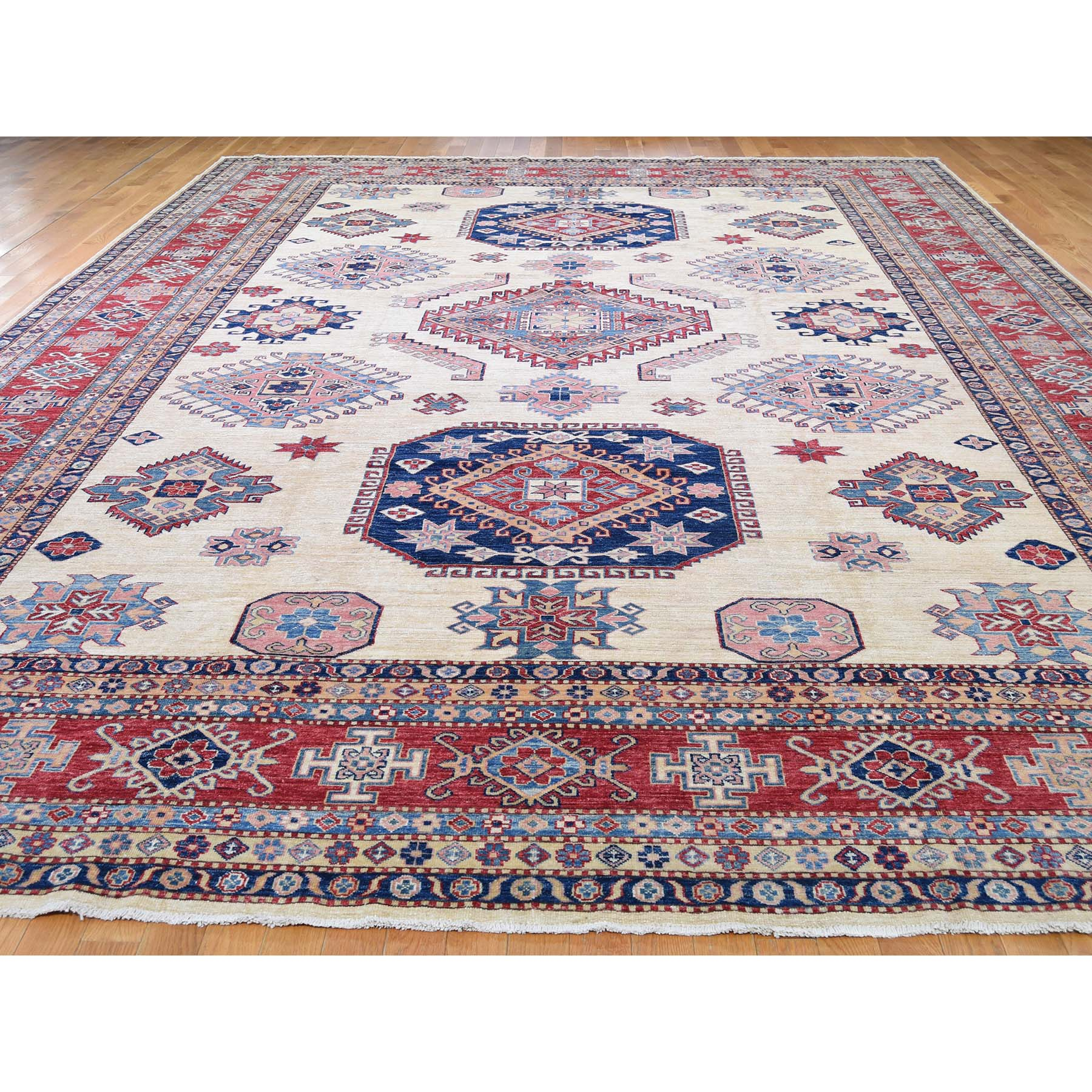 11-8 x16-6  Oversize Ivory Super Kazak Pure Wool Hand Knotted Oriental Rug
