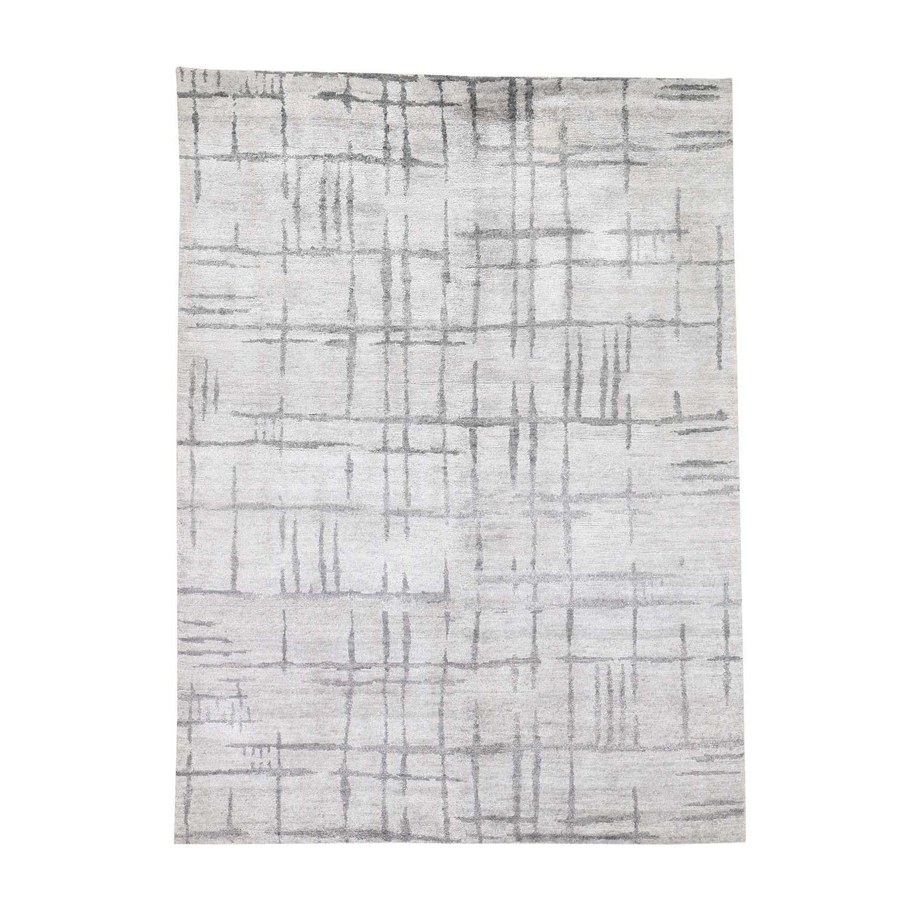 "5'X6'10"" Ivory, Wool And Silk Silver Broken Design Modern Hand-Knotted Rug moadeca8"