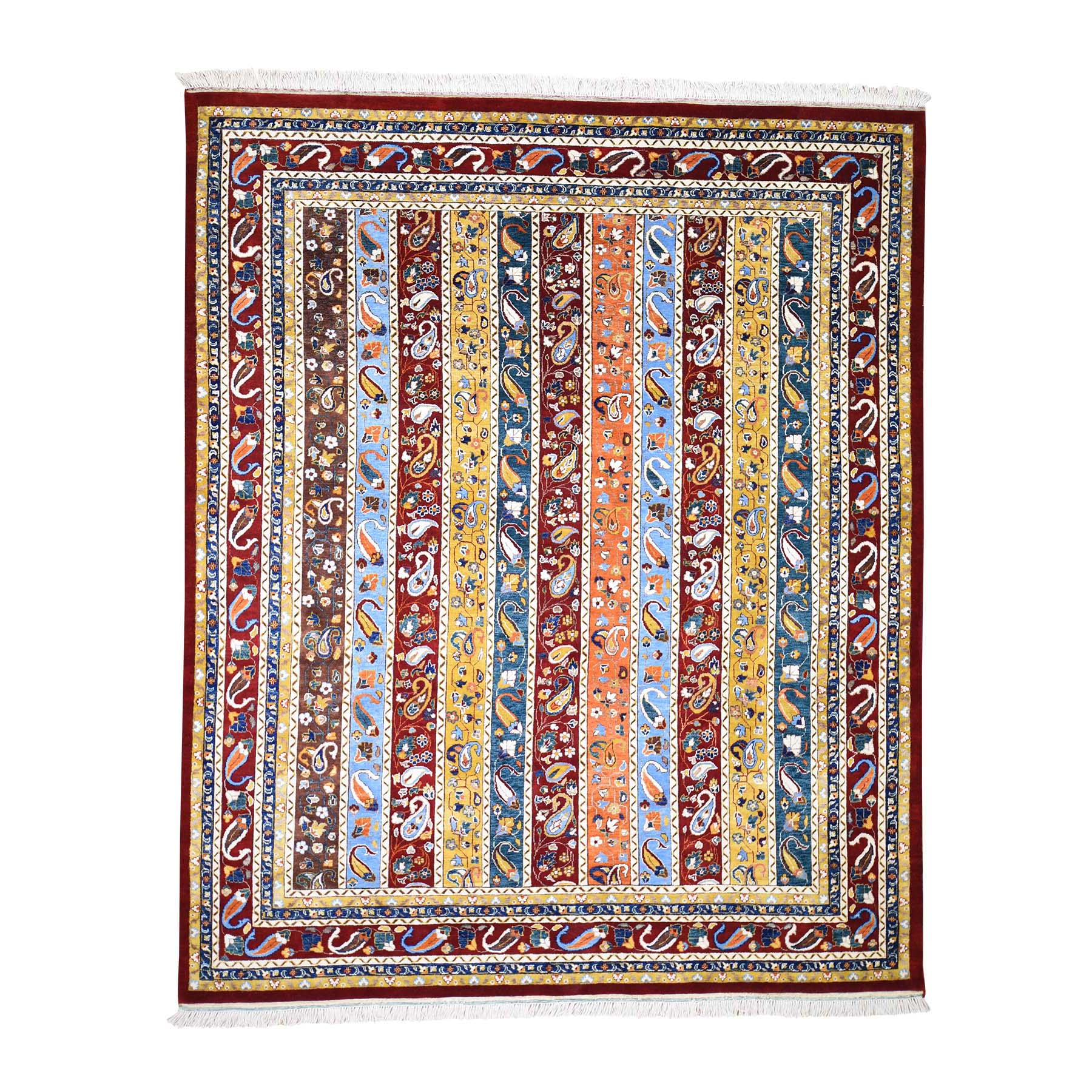 "8'2""X9'10"" On Clearance Kashkuli Shawl Design With Paisley Multicolored Hand Knotted Oriental Rug moadecbd"