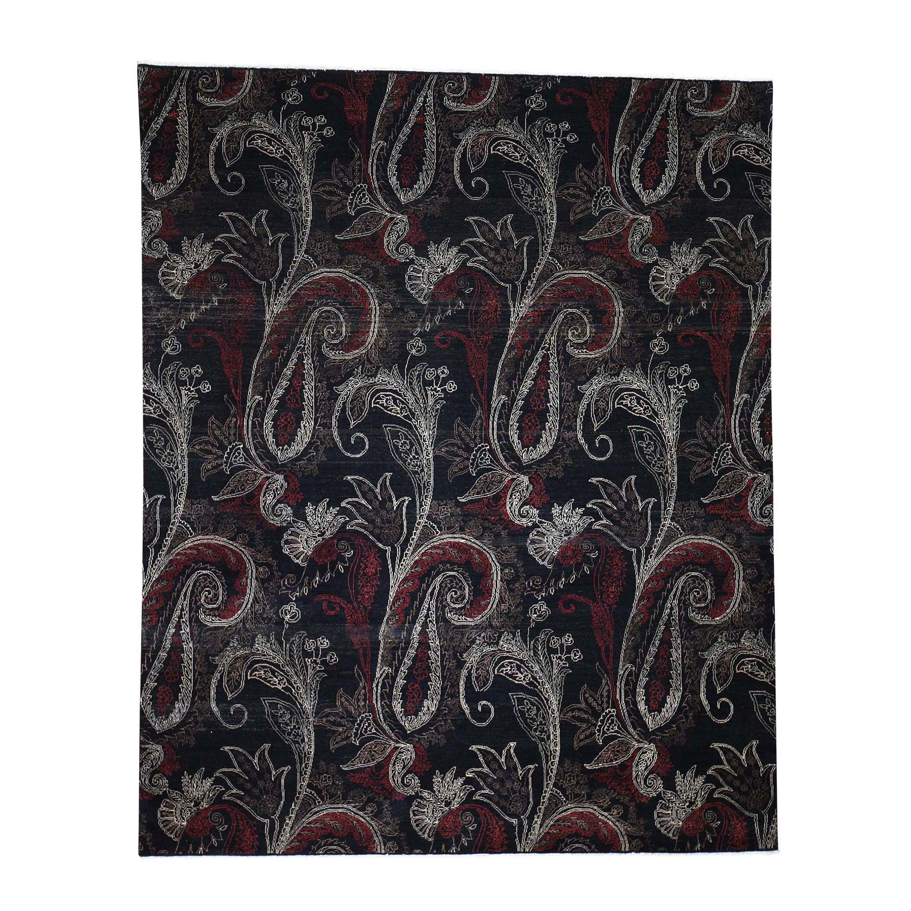 "8'1""X10' Black Modern Tulip And Paisley Design Hand Knotted Oriental Rug moadeccd"