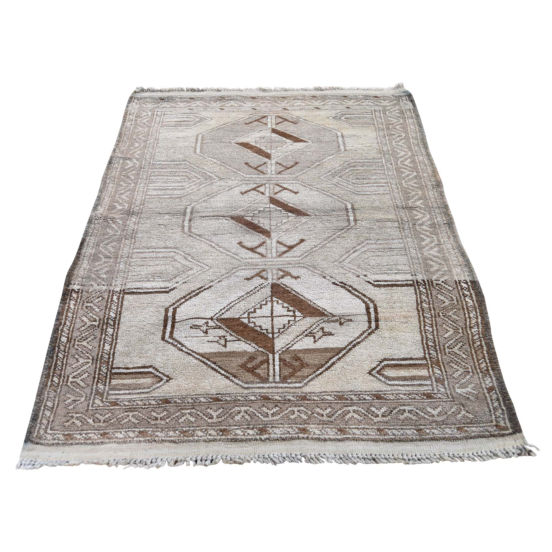 "2'10""X4'3"" Vintage Afghan Baluch Natural Colors Hand-Knotted Pure Wool Oriental Rug moadecdc"