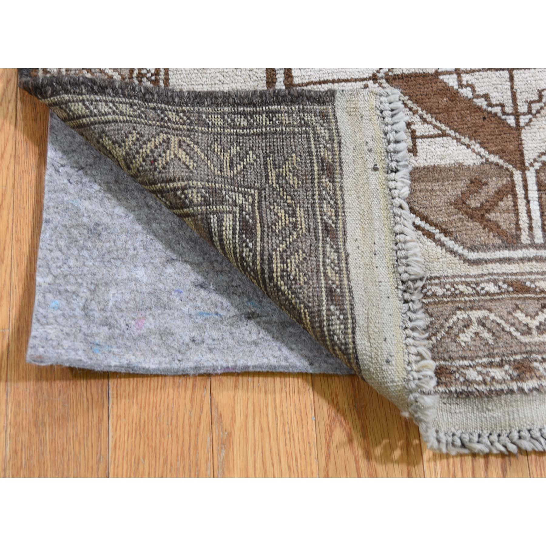 2-10 x4-3  Vintage Afghan Baluch Natural Colors Hand-Knotted Pure Wool Oriental Rug