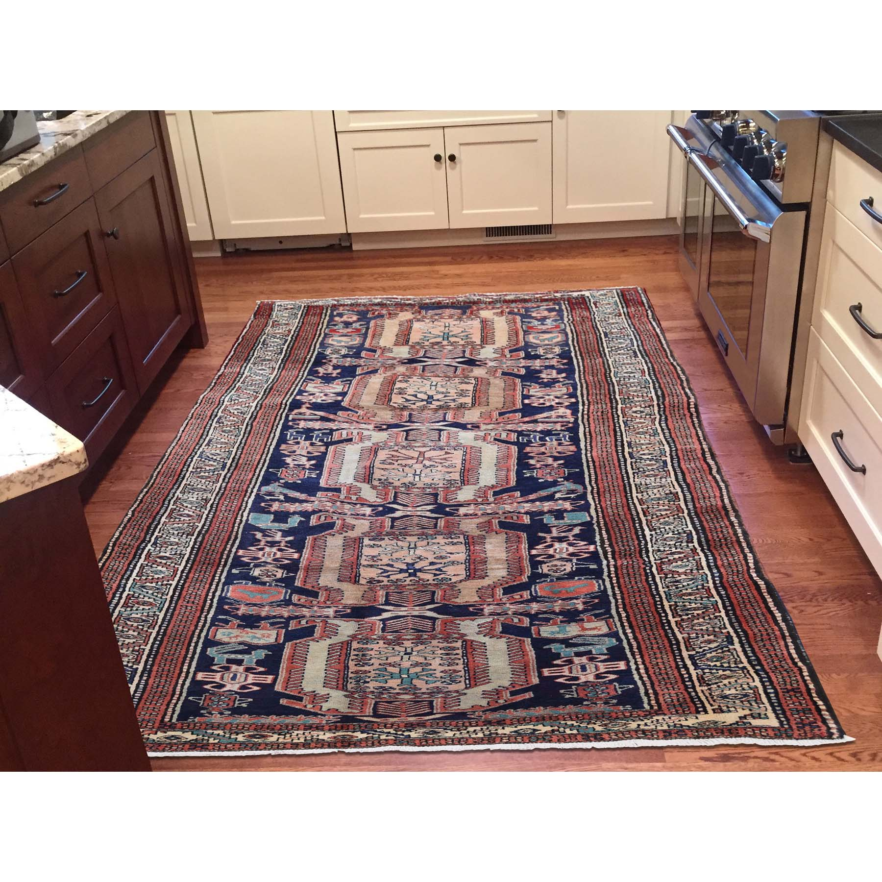 4-x10-4  Vintage North West Persian With Birds Pure Wool Wide Runner Hand-Knotted Oriental Rug