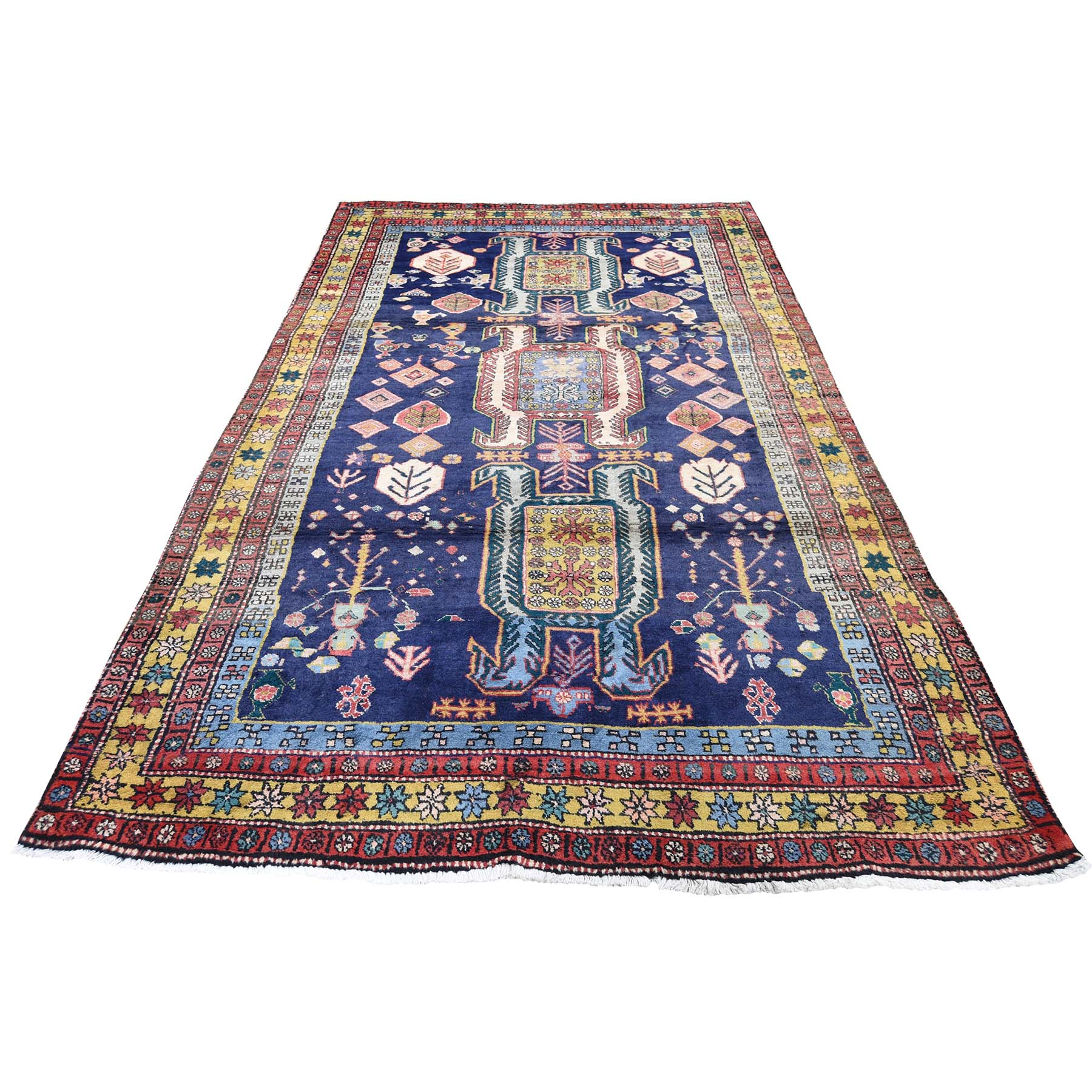 "4'7""X9'4"" Vintage Persian Ardabil With Birds Pure Wool Hand-Knotted Oriental Rug moadec6a"