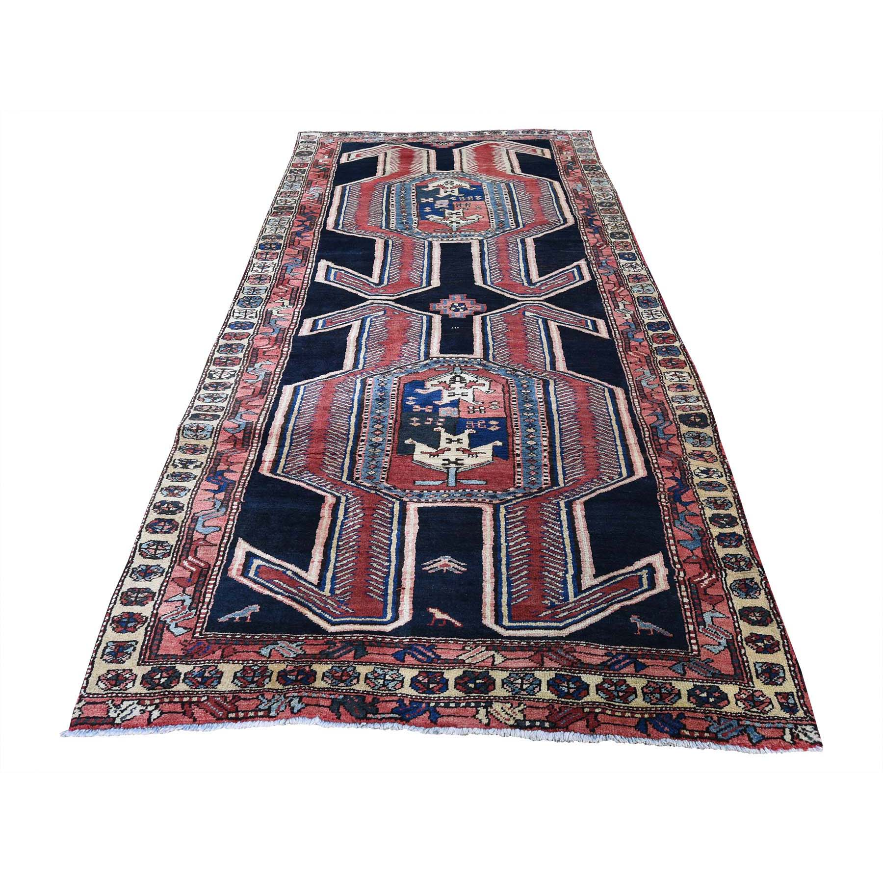 "4'X9'8"" Vintage North West Persian Pure Wool Wide Runner Hand-Knotted Oriental Rug45369"