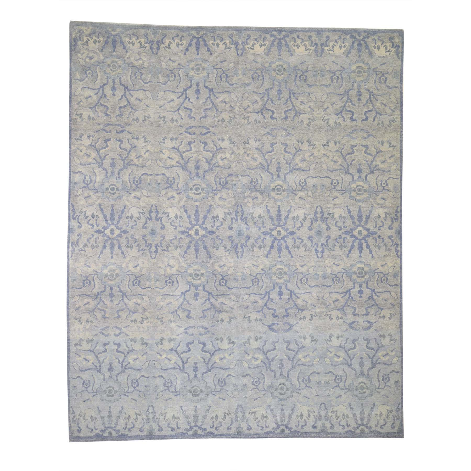 "8'X9'10"" Modern Light Blue Tone On Tone Pure Wool Hand-Knotted Oriental Rug moadec7b"