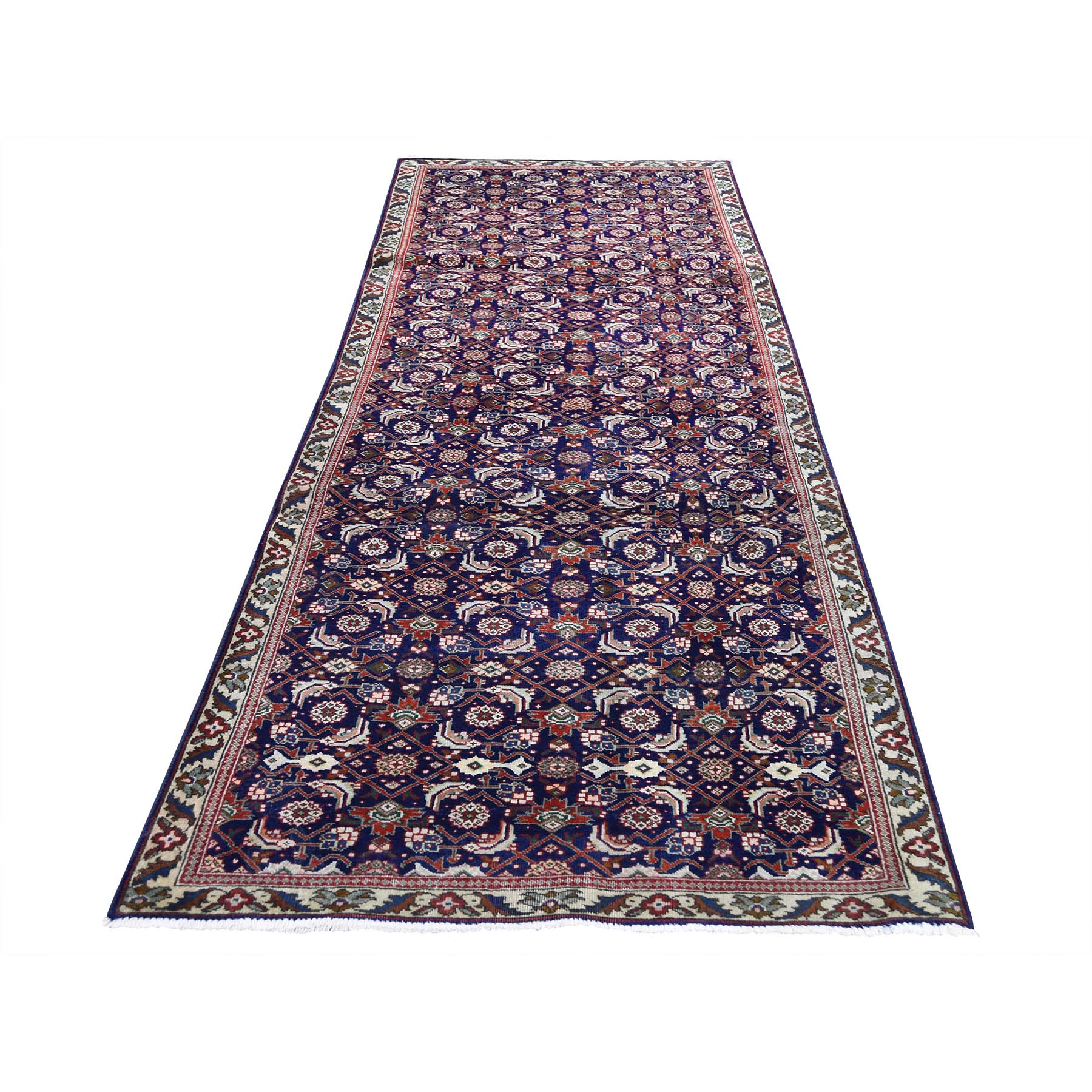 3-1 x9-6  Navy Vintage Persian Fish Design Tabriz Hand-Knotted Runner Oriental Rug