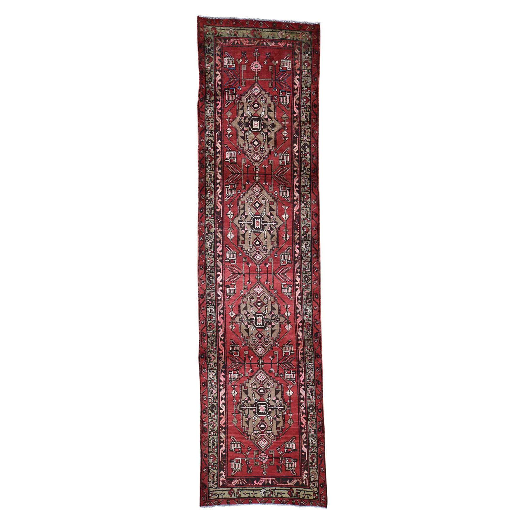"3'4""X13' Red Vintage North West Persian Bohemian Runner Pure Wool Hand-Knotted Oriental Rug moadec96"