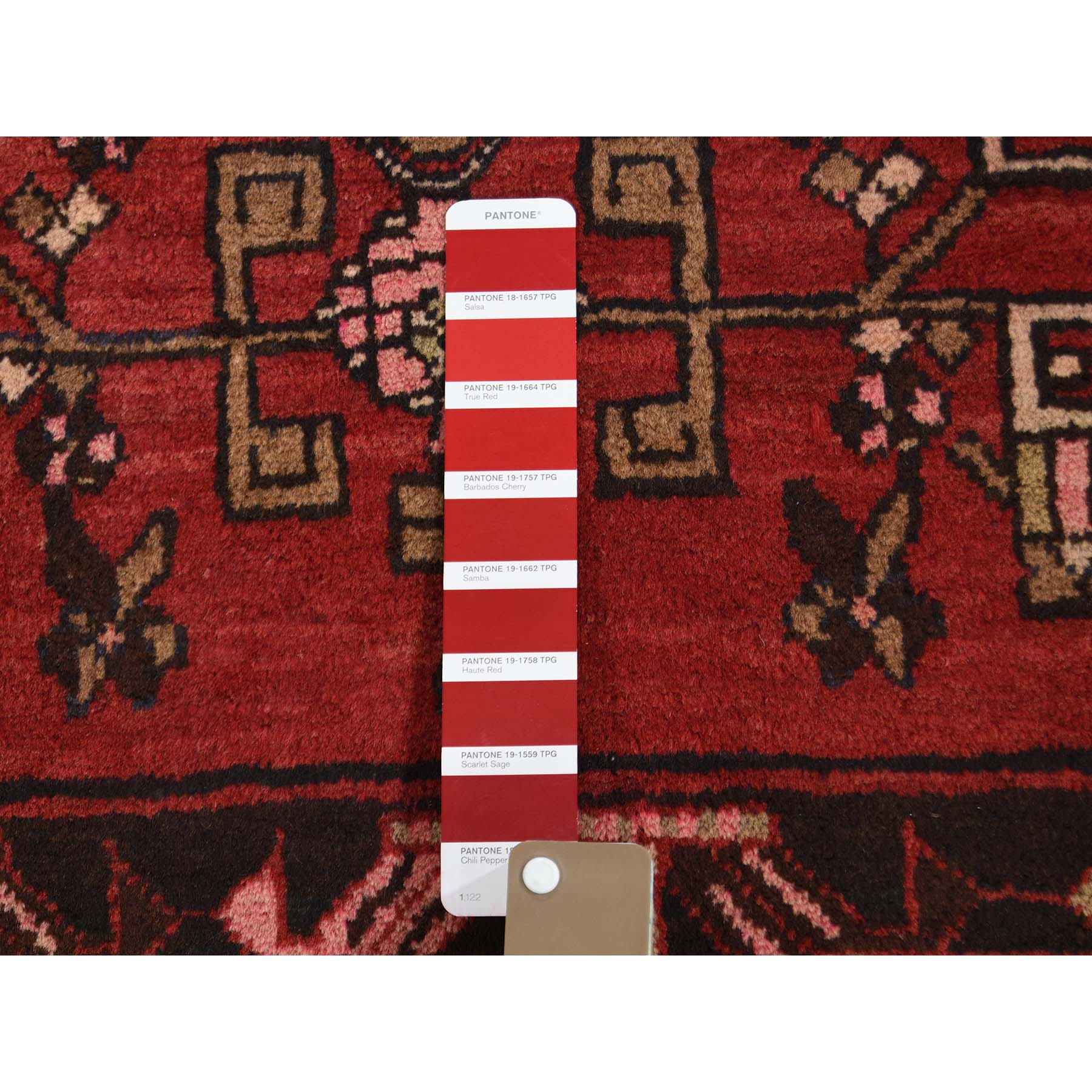 3-4 x13- Red Vintage North West Persian Bohemian Runner Pure Wool Hand-Knotted Oriental Rug