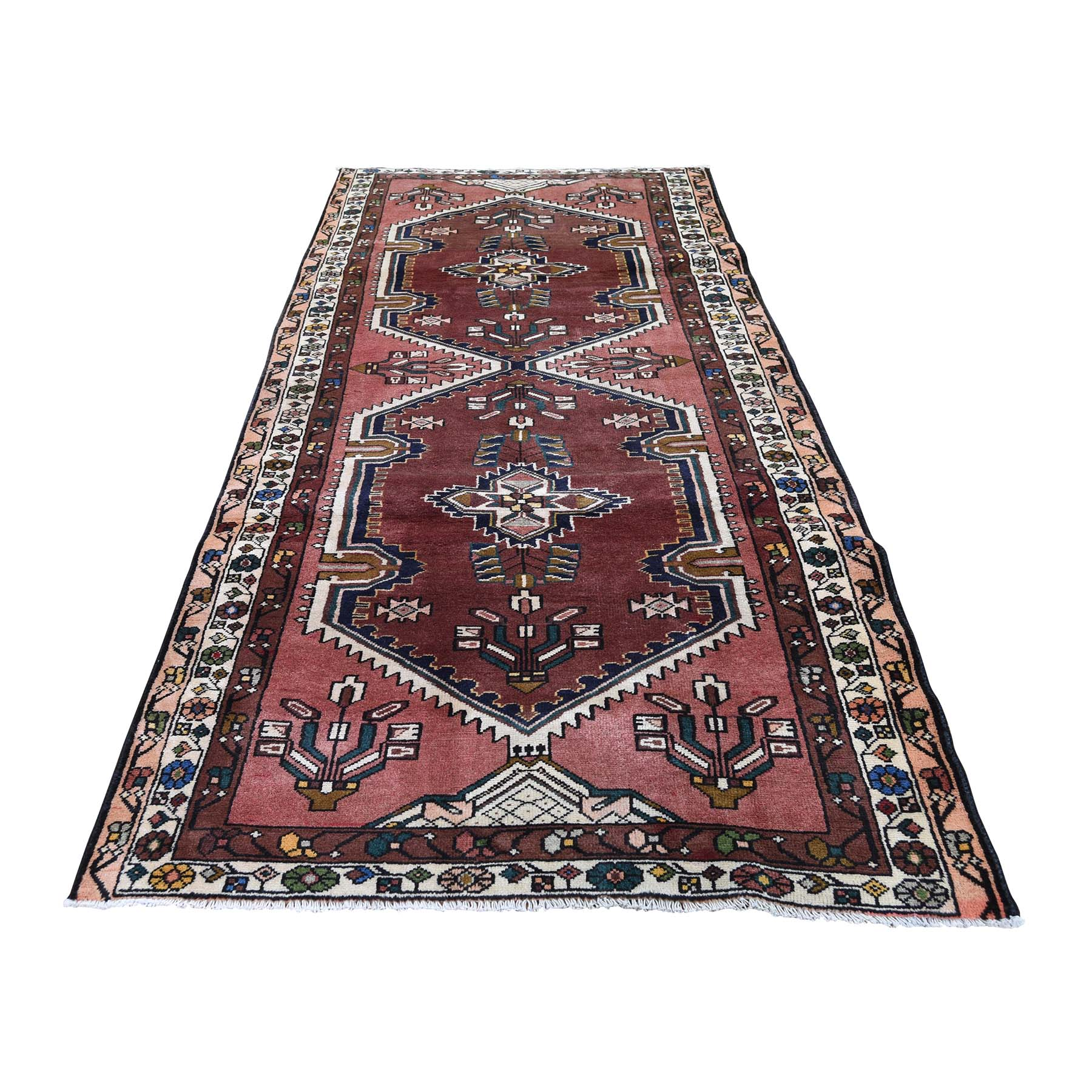 "3'9""X9'9"" Ivory Vintage Persian Malayer Wide Runner Pure Wool Hand-Knotted Oriental Rug moaded0d"