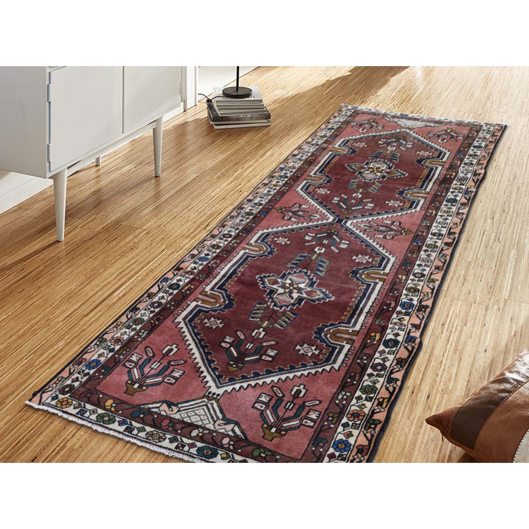 3-9 x9-9  Ivory Vintage Persian Malayer Wide Runner Pure Wool Hand-Knotted Oriental Rug