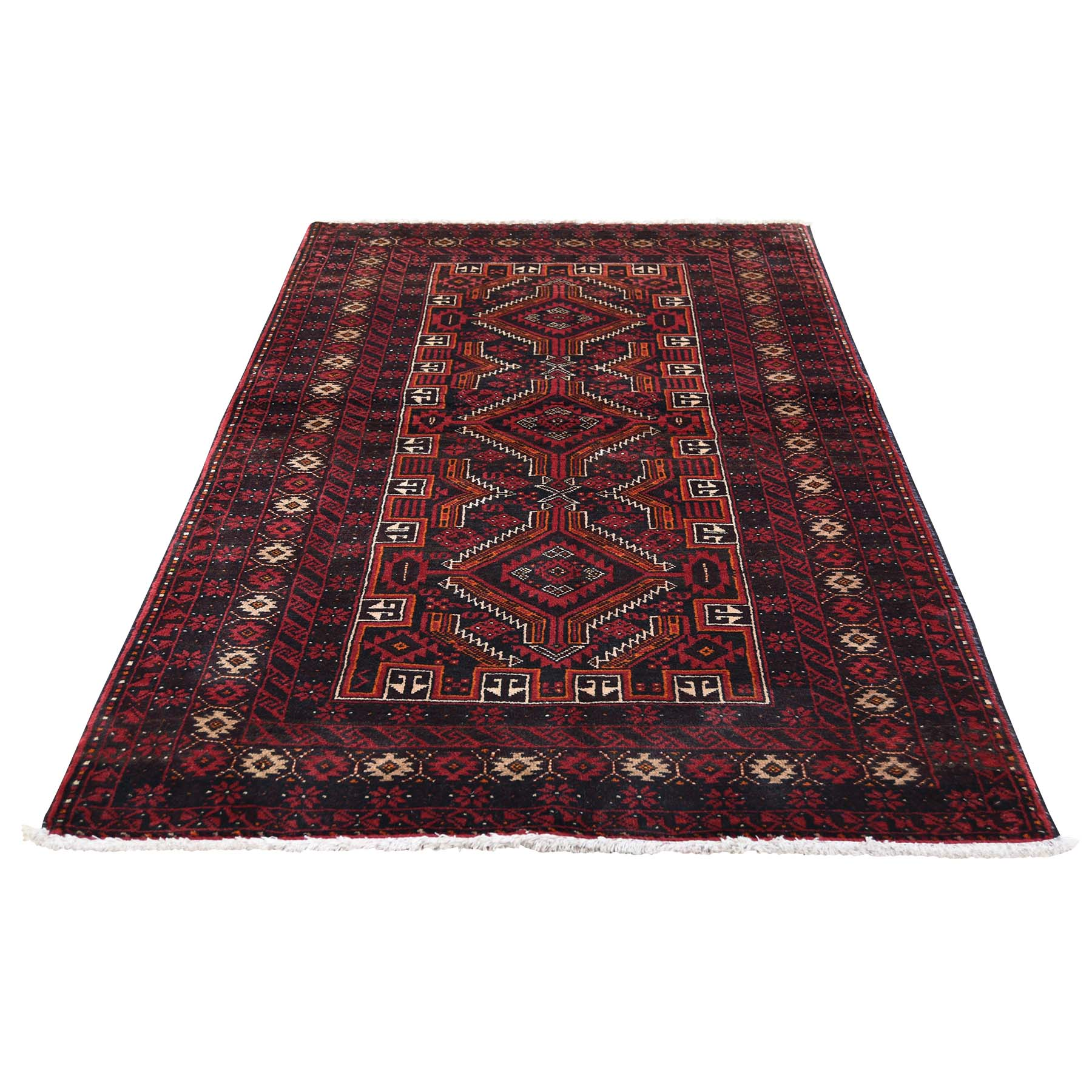 "3'4""X6'5"" Vintage Bohemian Persian Baluch Pure Wool Red Hand-Knotted Oriental Rug moadedb9"