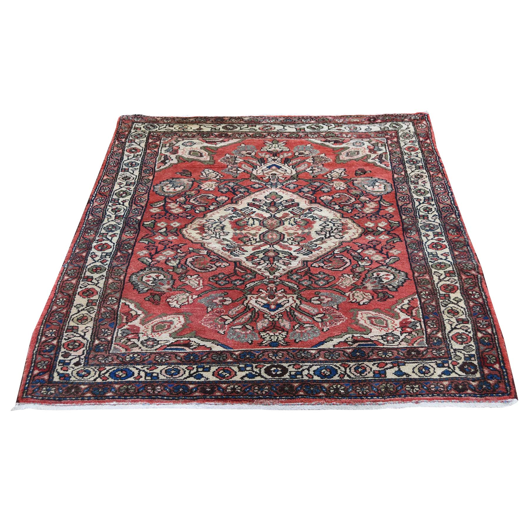 "3'4""X4'8"" Vintage Bohemian Persian Mahal Pure Wool Hand-Knotted Oriental Rug moadedc7"