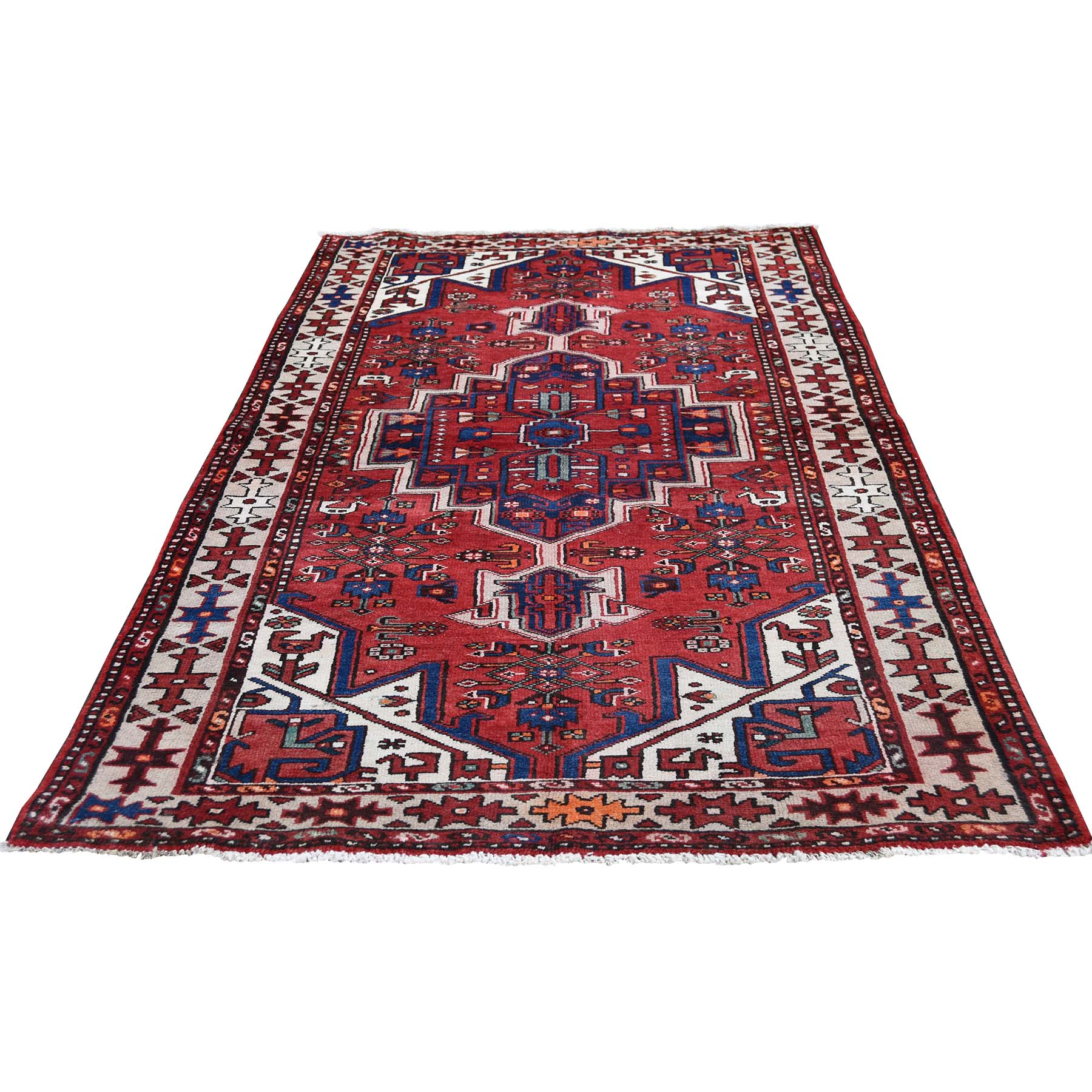 "3'6""X6'9"" Vintage Bohemian Persian Hamadan With Birds Red Pure Wool Hand-Knotted Oriental Rug moadedc8"