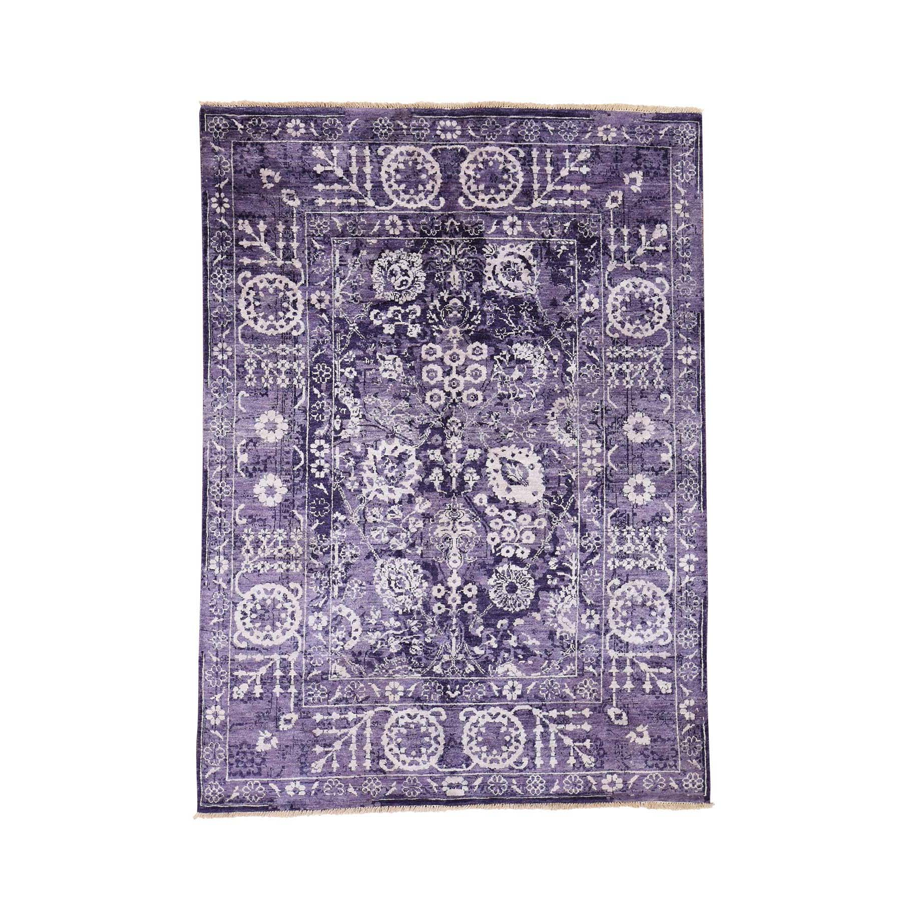 "4'10""X6'8"" Transitional Purple Tabriz Wool And Silk Hand-Knotted Oriental Rug moadedd0"