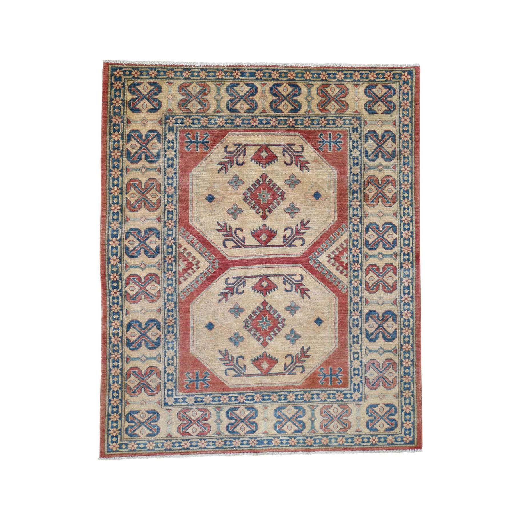 "5'5""X6'8"" Red Kazak Pure Wool Hand-Knotted Oriental Rug  moadedde"