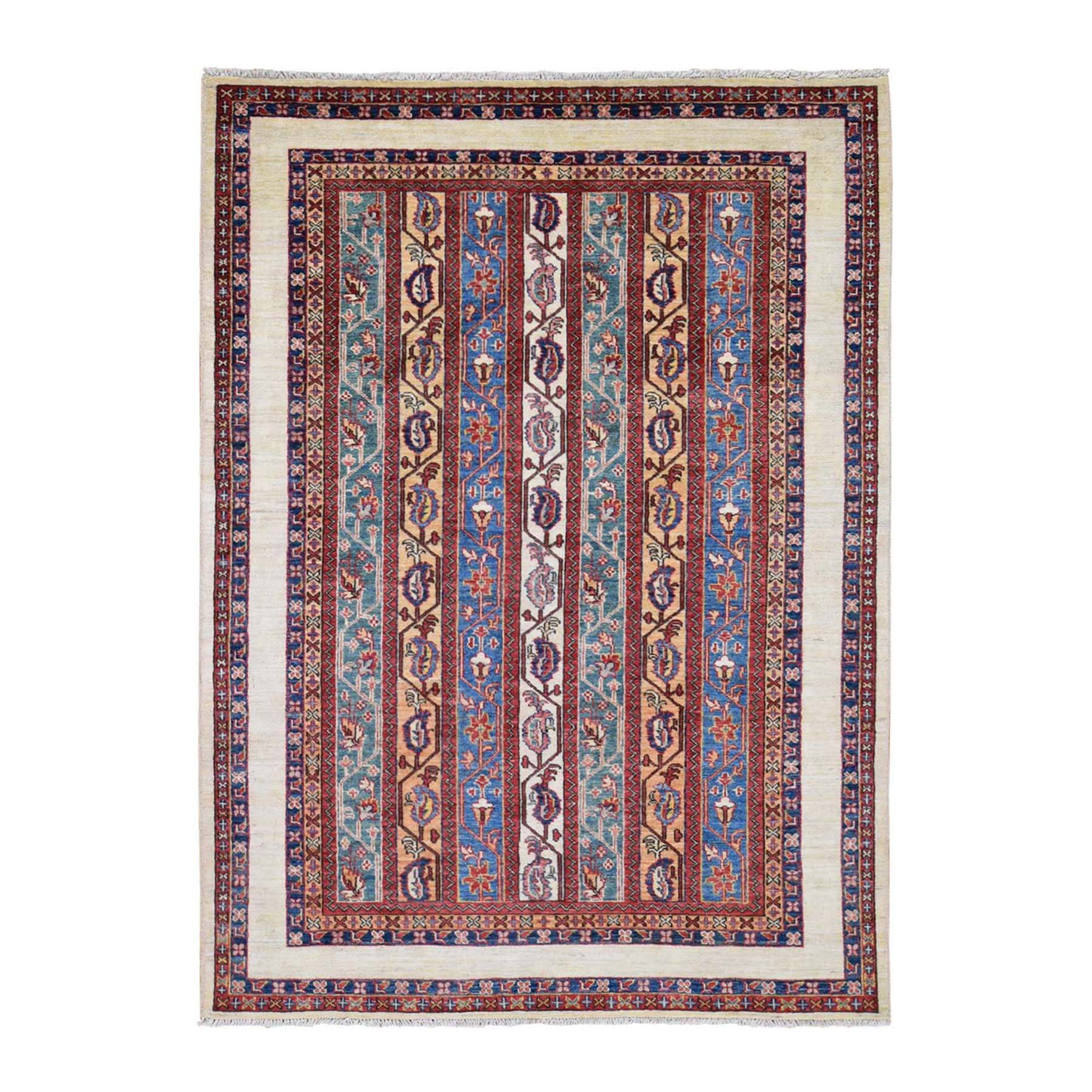 "4'9""x6'8"" Multicolored Super Kazak Shawl Design Pure Wool Hand-Knotted Oriental Rug"