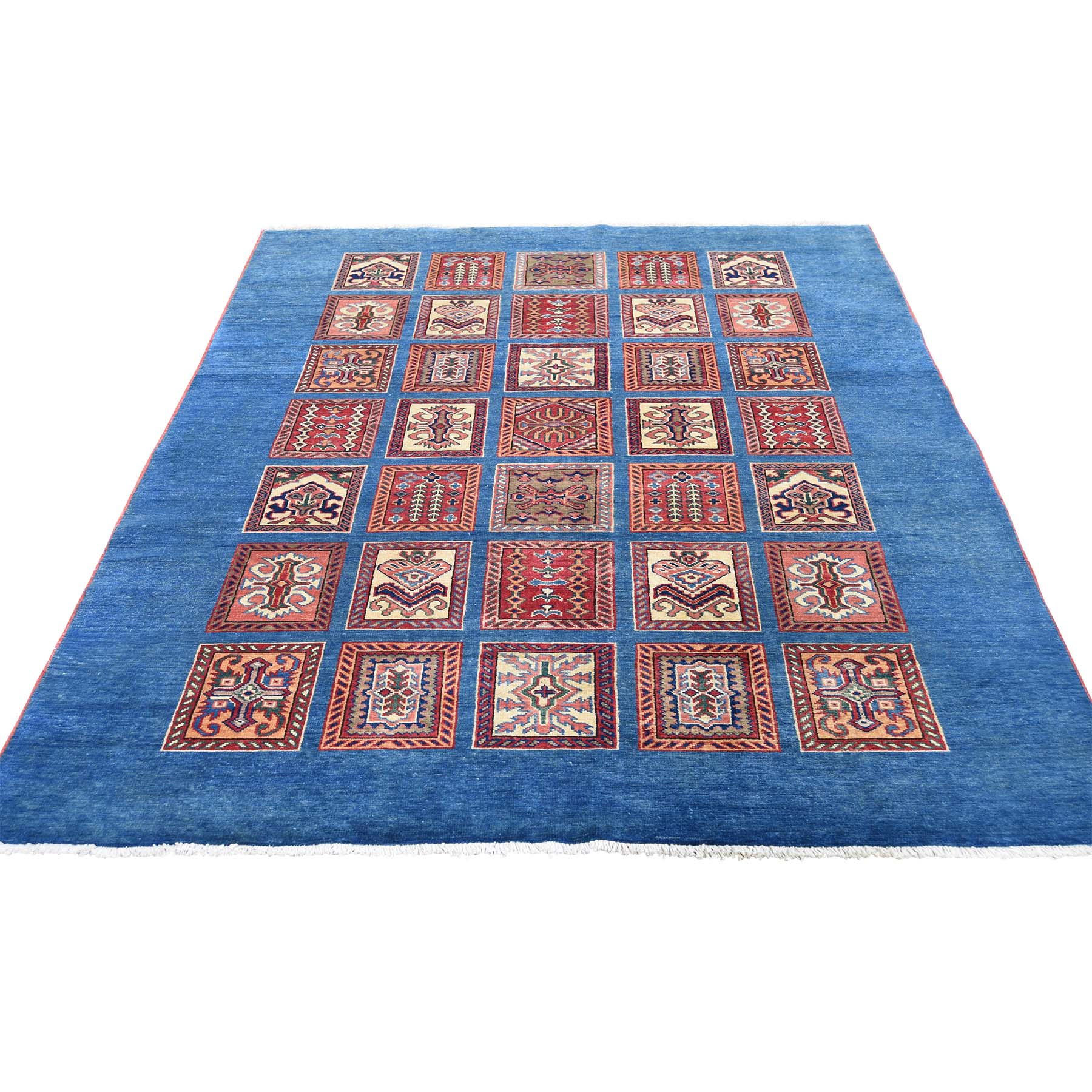 "5'X6'6"" Denim Blue Super Kazak Garden Design Pure Wool Hand-Knotted Oriental Rug moadedd9"