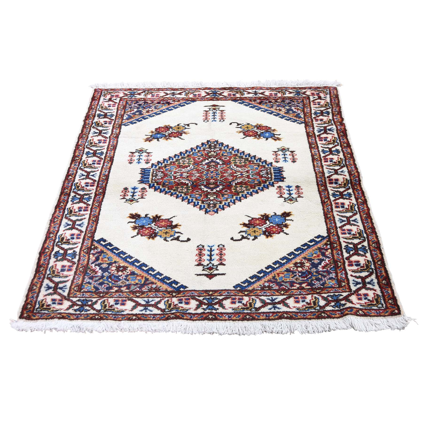 "3'3""X4'3"" Vintage Bohemian Karabakh Pure Wool Ivory Hand-Knotted Oriental Rug moadede0"