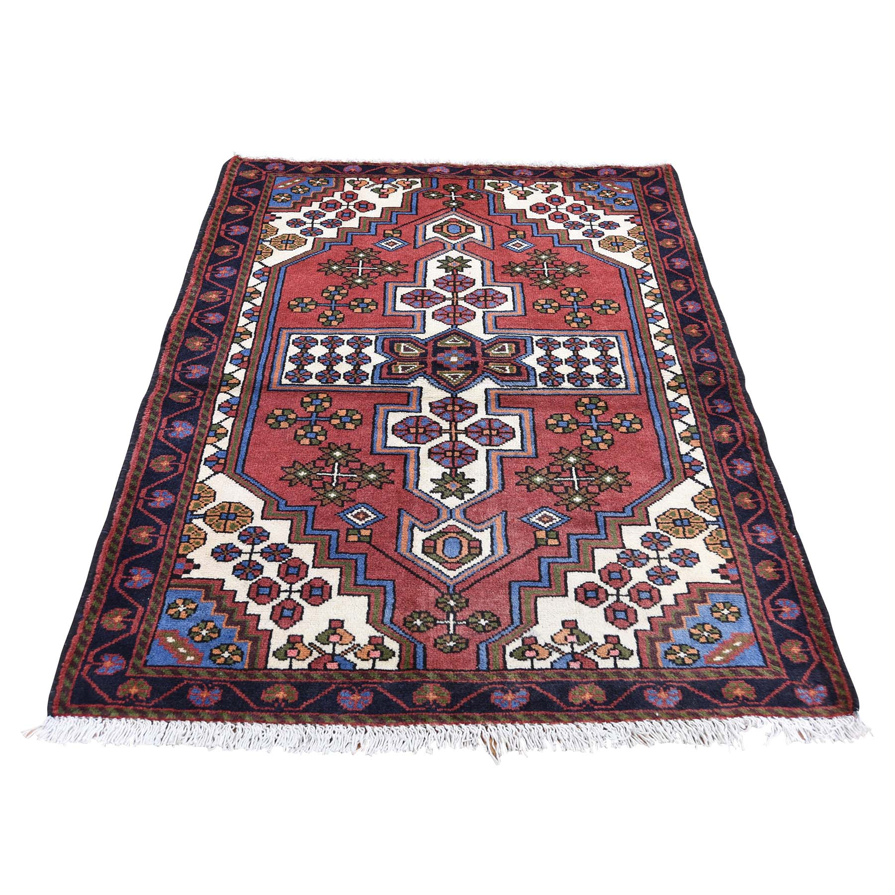 "3'5""X5' Vintage Bohemian Persian Hamadan Red Pure Wool Hand-Knotted Oriental Rug moaded6d"