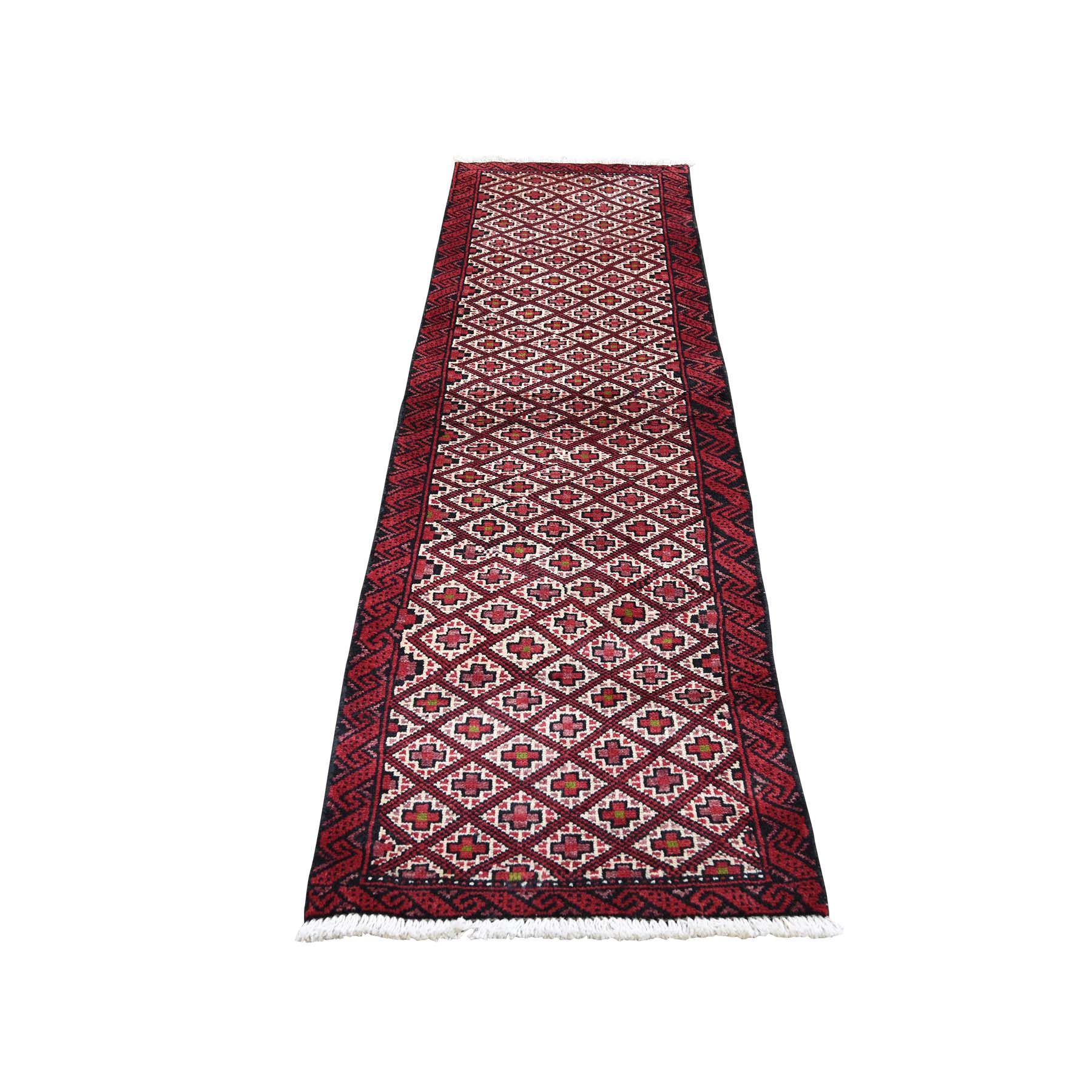 "1'9""X6'9"" Vintage Bohemian Persian Hamadan Red Narrow Runner Hand-Knotted Oriental Rug moaded6e"
