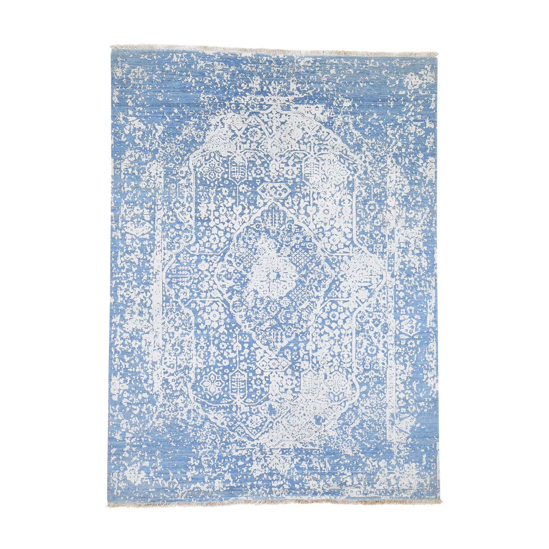 "5'1""x7' Hand-Knotted Broken Persian Design Denim Blue Wool and Pure Silk Oriental Rug"