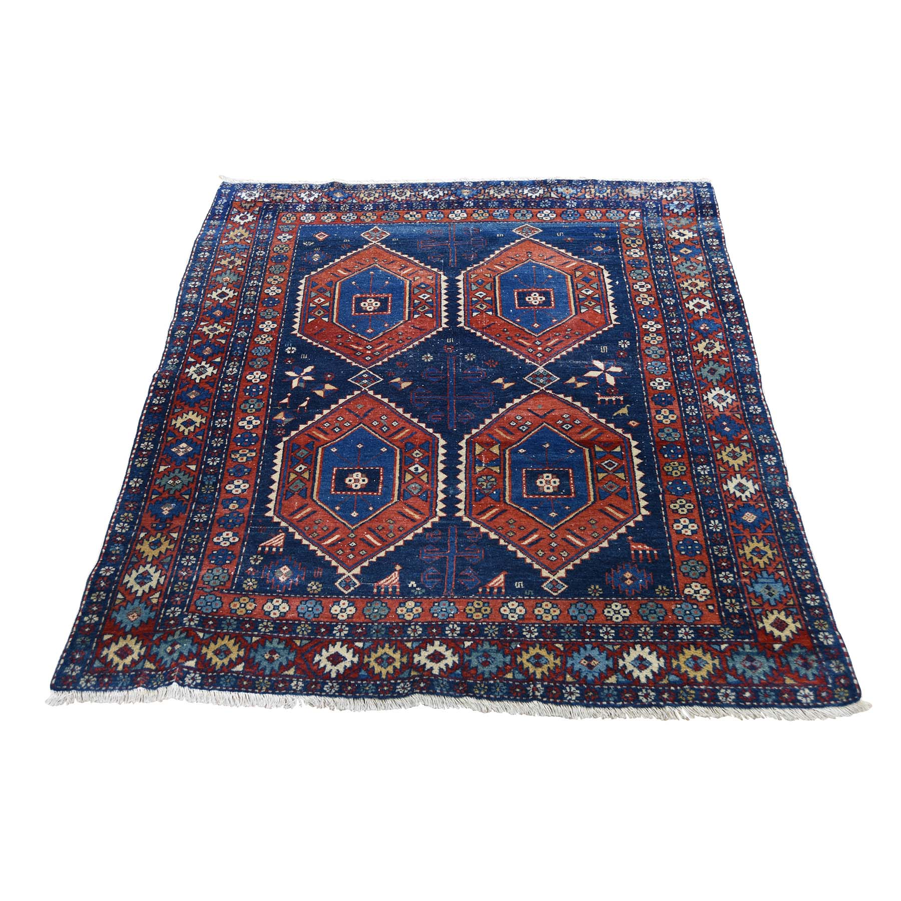 "3'6""x4'6"" Navy Antique Persian Ardabil Clean Even Wear Pure Wool Hand-Knotted Oriental Rug"
