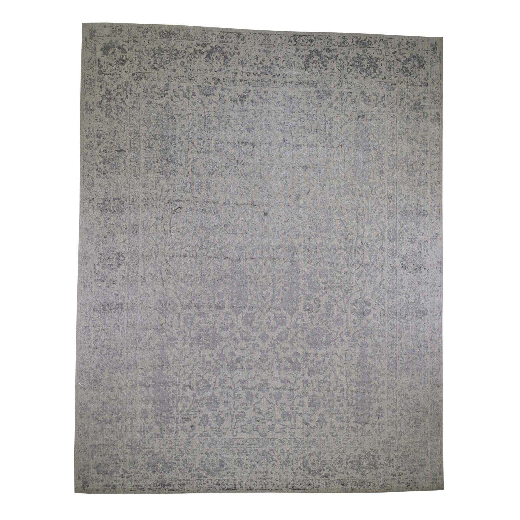 "11'8""X14'10"" Gray Oversized Broken Cypress Tree Design Wool & Silk Thick Hand-Loomed Oriental Rug moadee07"