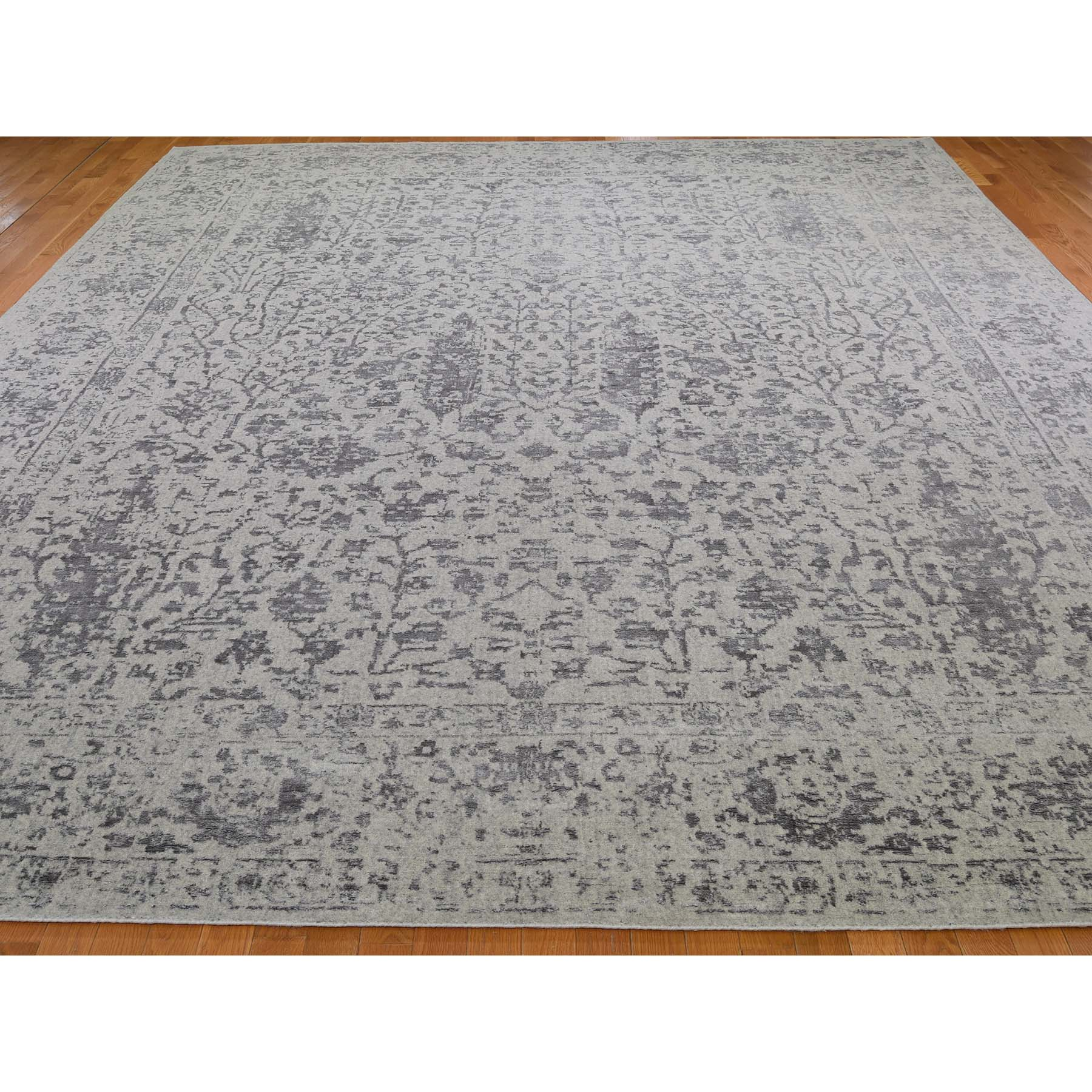 11-8 x14-10  Gray Oversized Broken Cypress Tree Design Wool & Silk Thick Hand-Loomed Oriental Rug