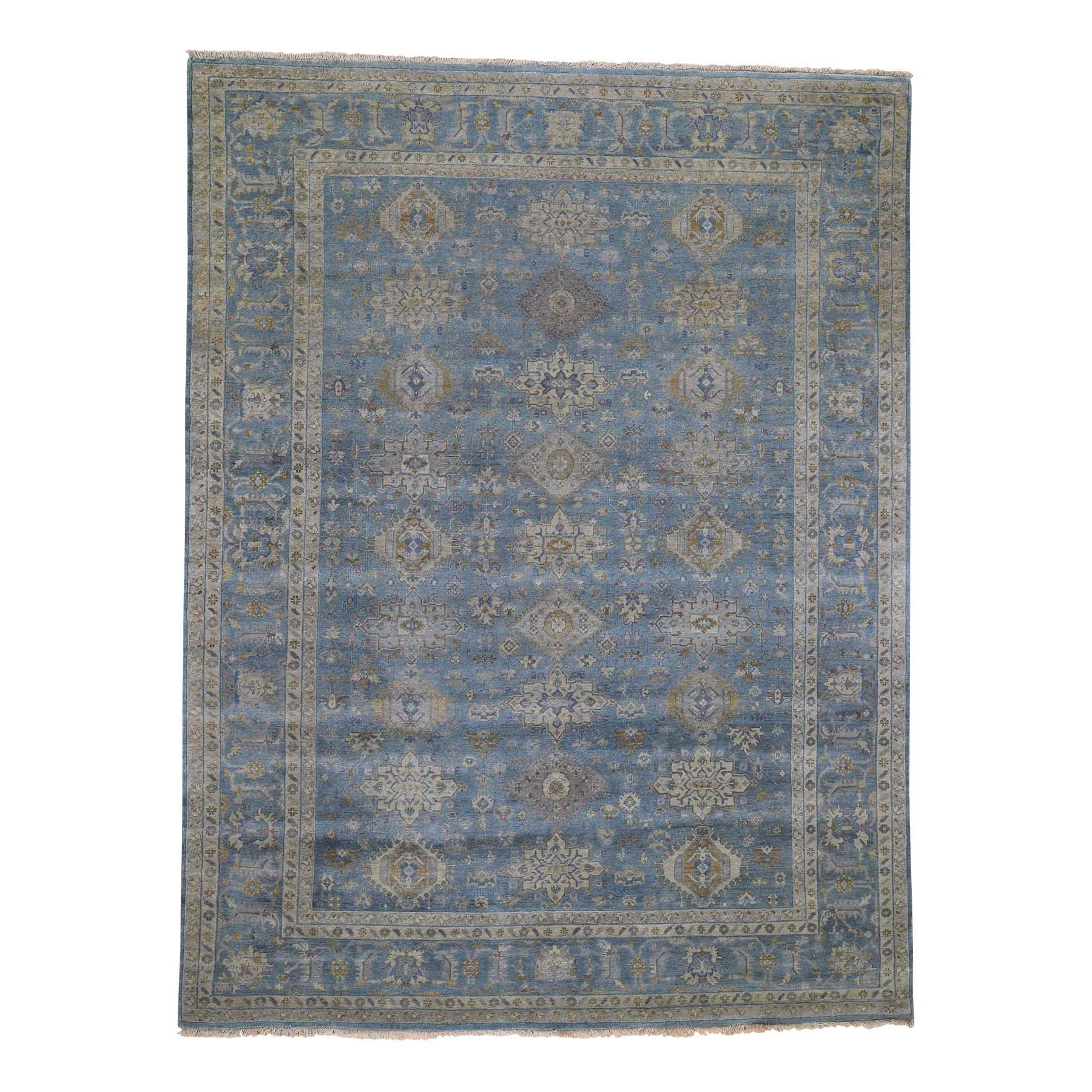 9'X12' Blue Karajeh Design Pure Wool Hand-Knotted Oriental Rug moadeea6