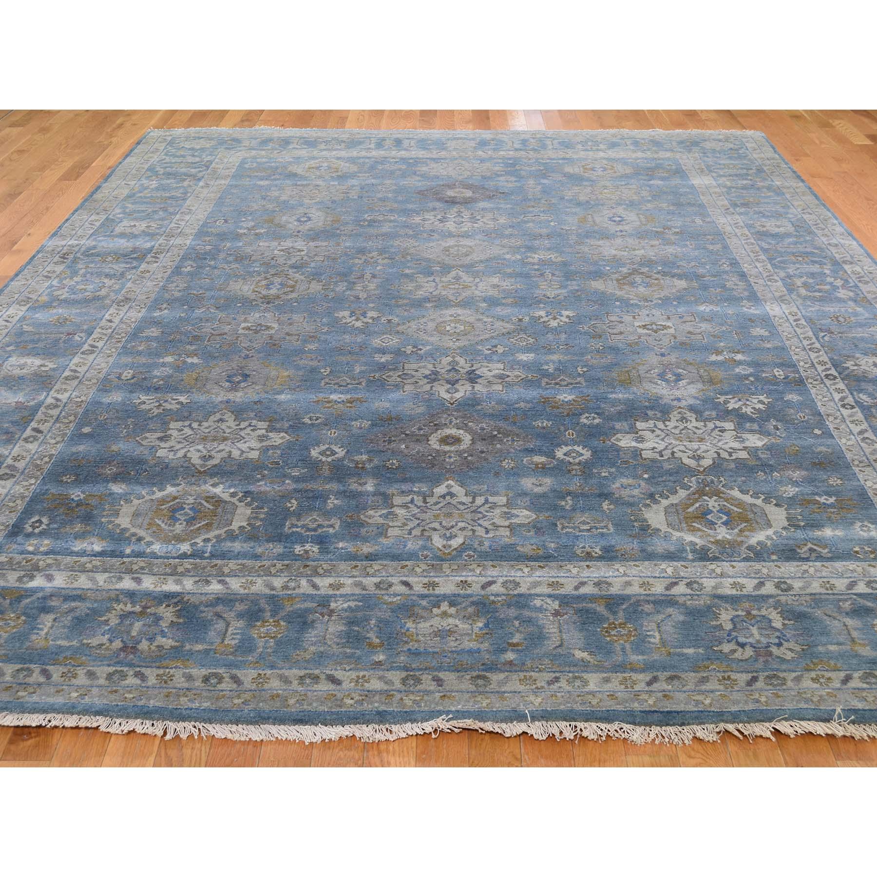 9-x12- Blue Karajeh Design Pure Wool Hand-Knotted Oriental Rug