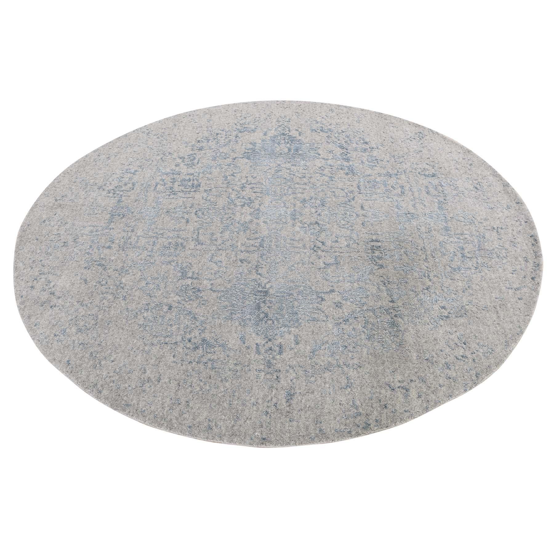 "5'10""X5'10"" Jacquard Hand-Loomed Silken Grey Broken Persian Heriz Design Round Oriental Rug moadeedc"