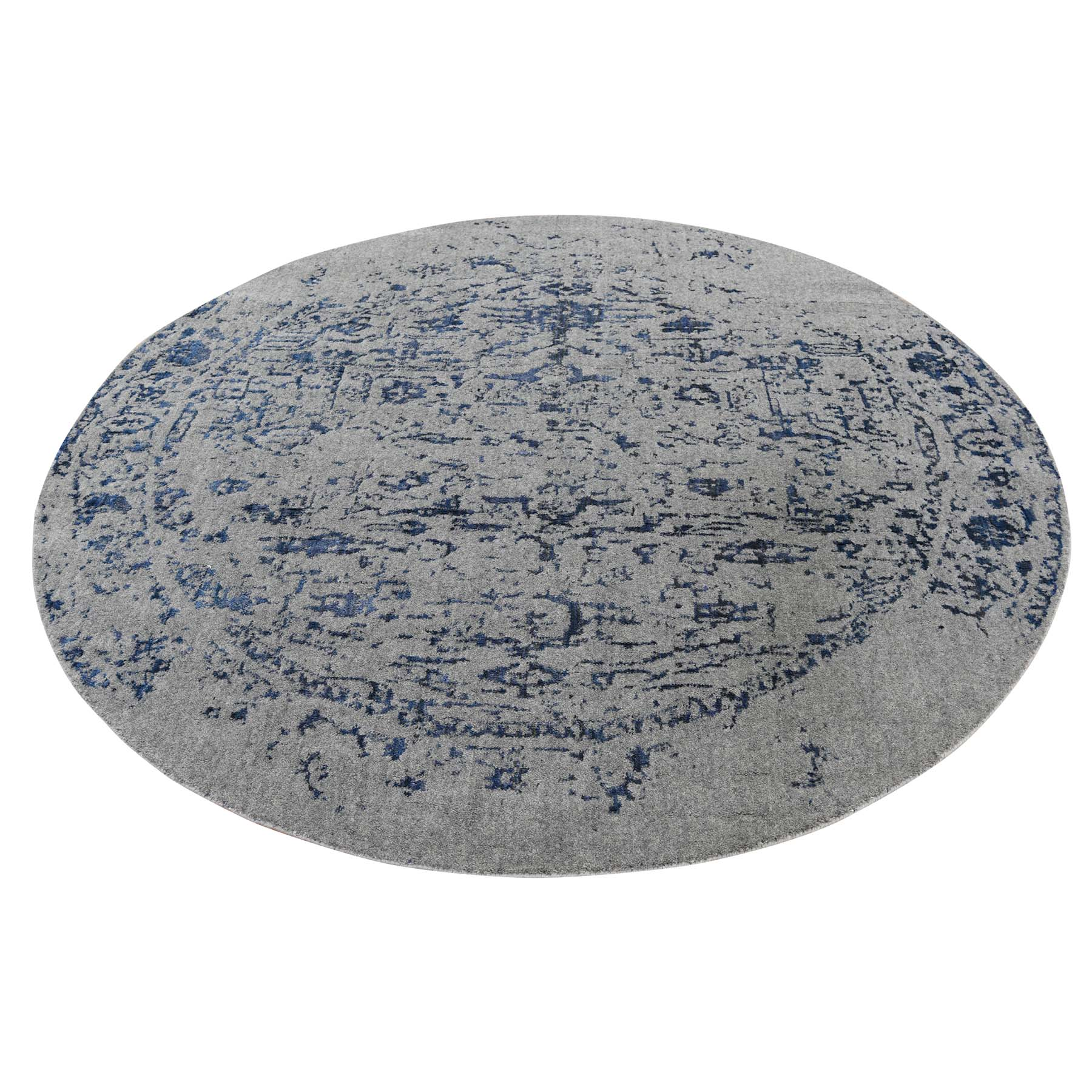 6'x6' jacquard Hand-Loomed With Broken Heriz Design Round Wool And Silk Oriental Rug