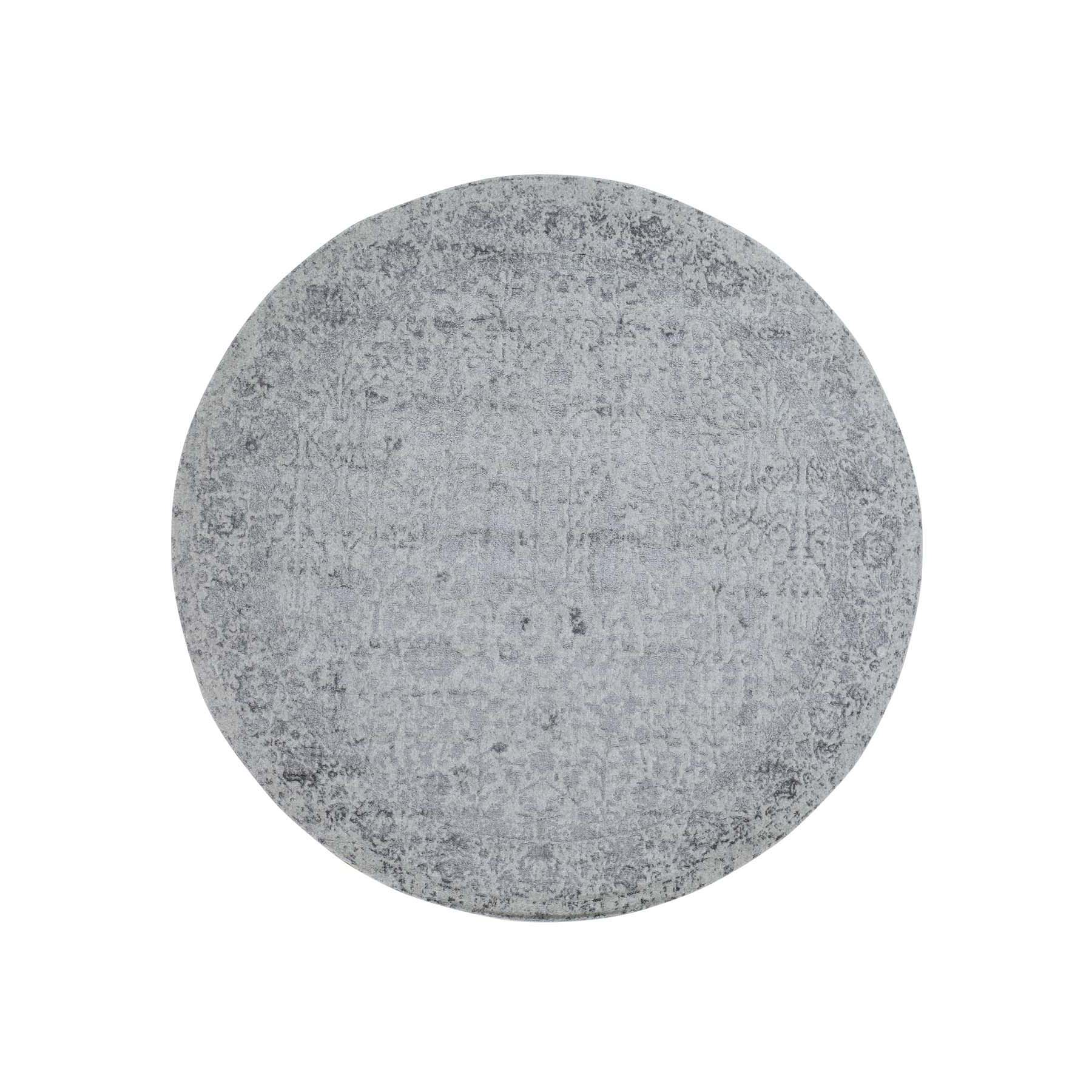 7-9 x7-9  jacquard Hand-Loomed Gray Broken Cypress Tree Design Wool And Silk Thick And Plush Round  Oriental Rug