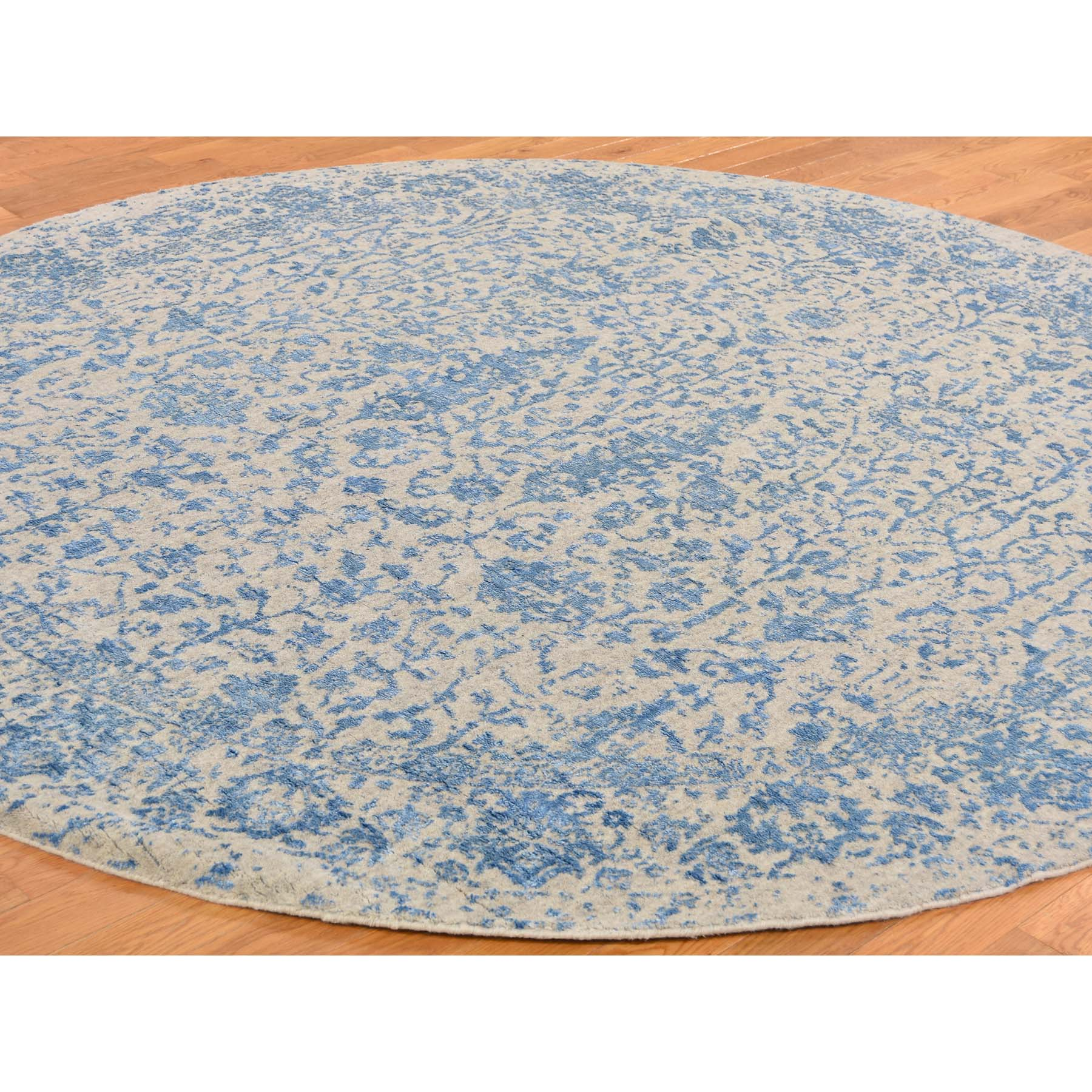 8-x8- jacquard Hand-Loomed Round Blue Broken Cypress Tree Design Wool And Silk Thick And Plush Oriental Rug