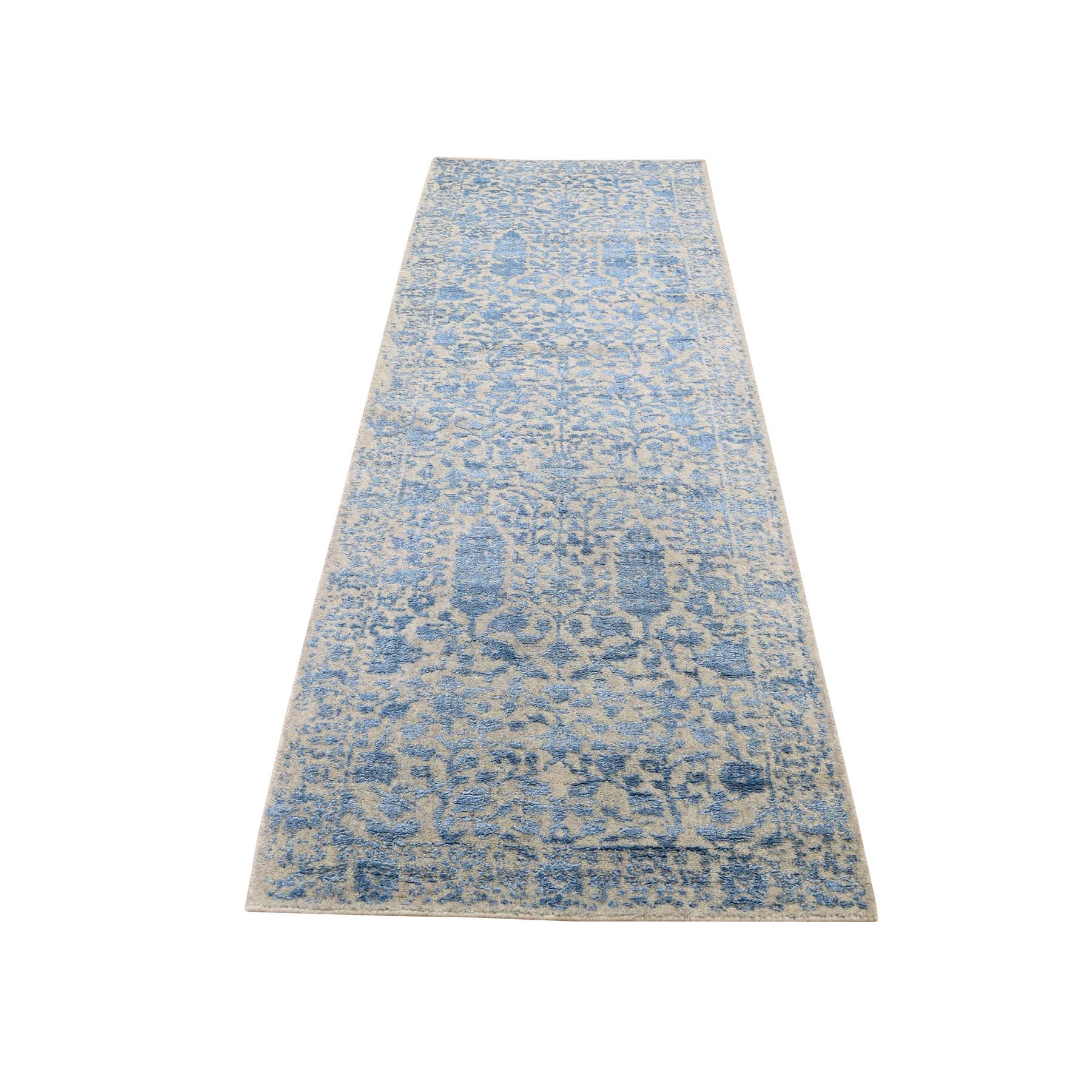 "2'6""x10'1"" Jacquard Hand-Loomed Blue Broken Cypress Tree Design Silken Thick And Plush Runner Oriental Rug"