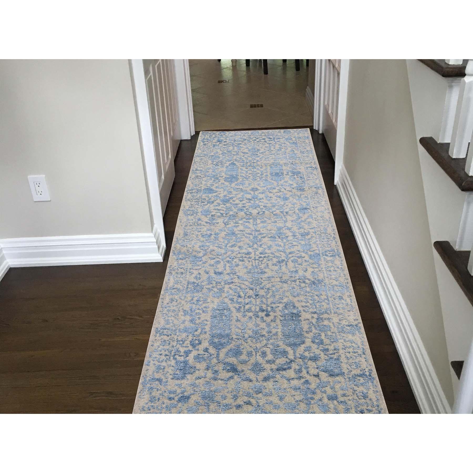 2-6 x10-1  Jacquard Hand-Loomed Blue Broken Cypress Tree Design Silken Thick And Plush Runner Oriental Rug