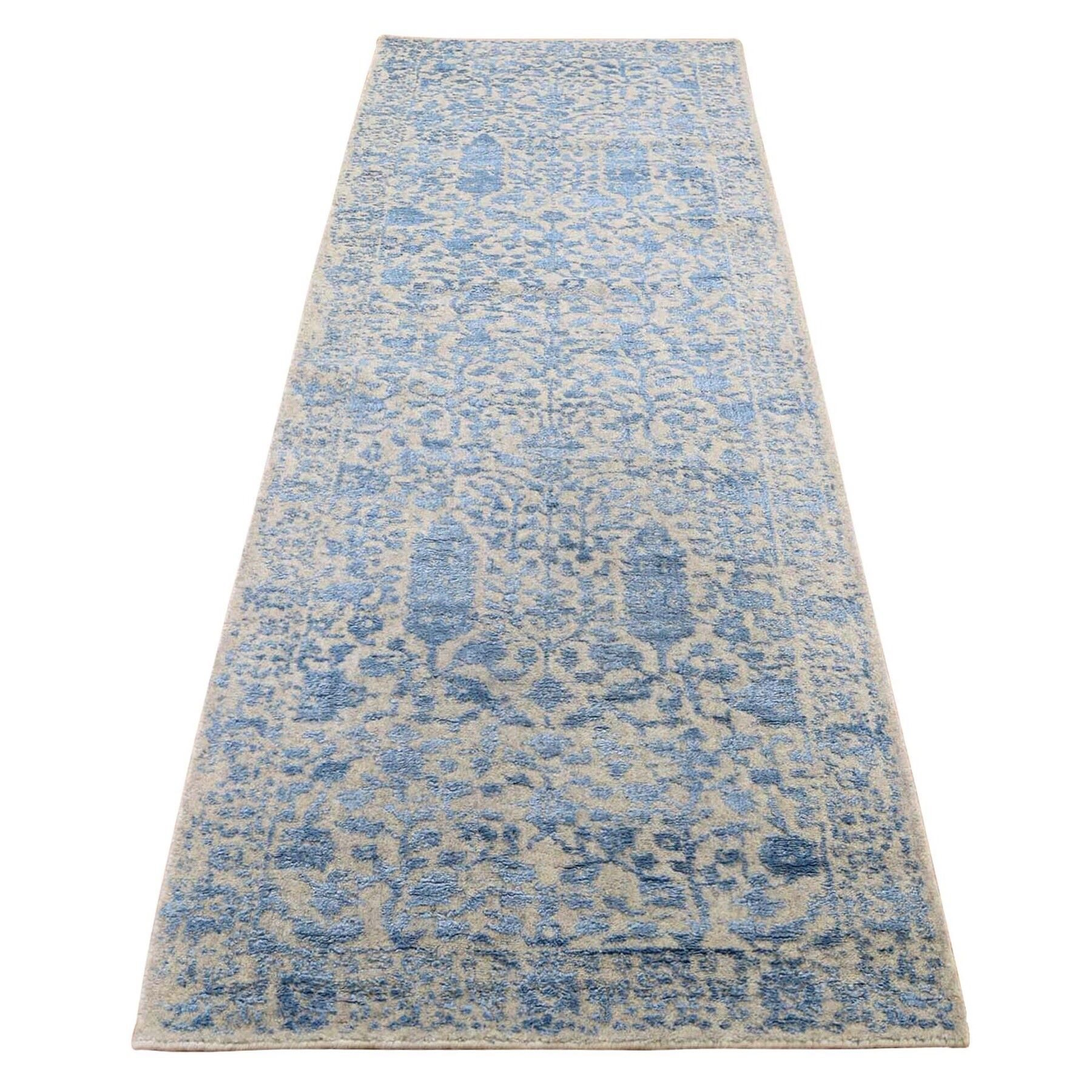 "2'5""X10'1"" Jacquard Hand-Loomed Blue Broken Cypress Tree Design Silken Thick And Plush Runner Oriental Rug moadee6e"