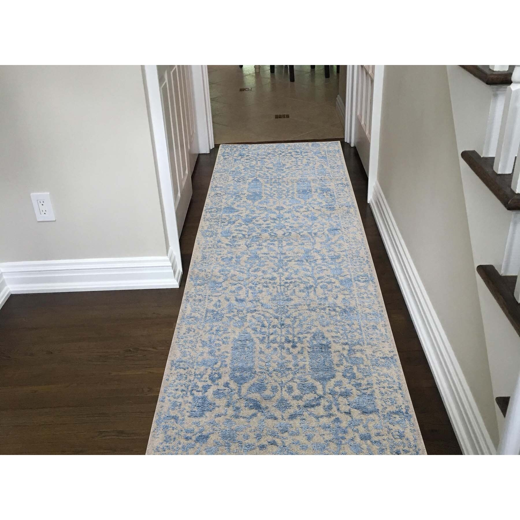 2-5 x10-1  jacquard Hand-Loomed Blue Broken Cypress Tree Design Silken Thick And Plush Runner Oriental Rug