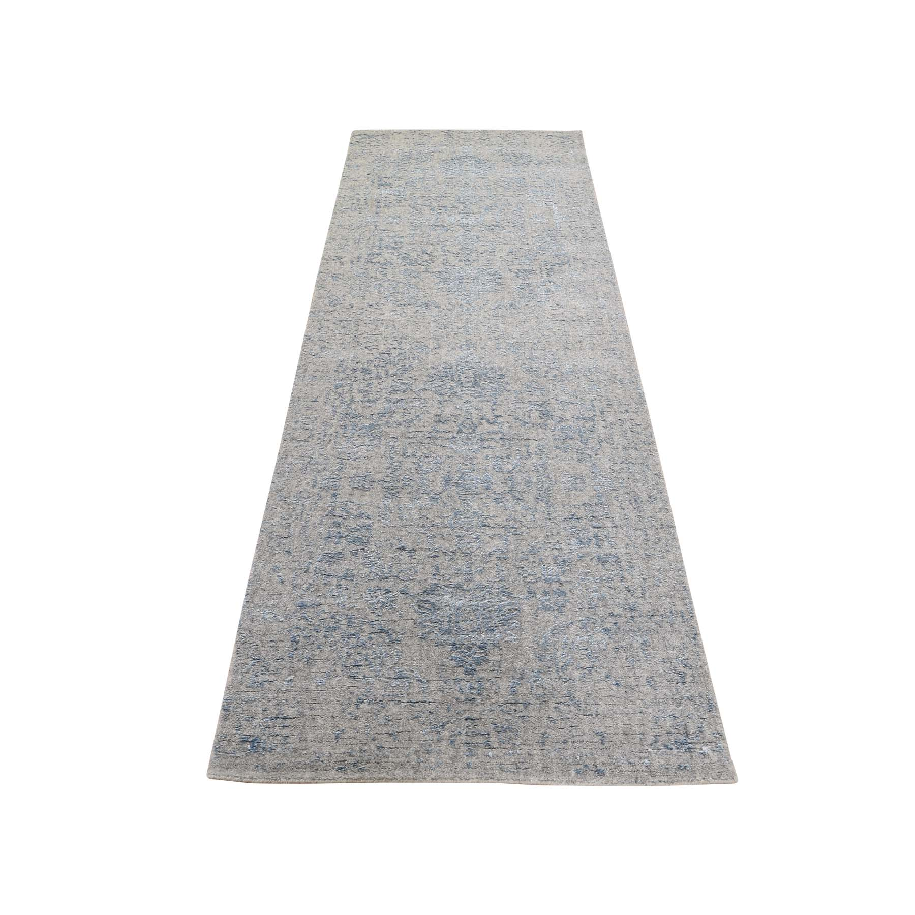 "2'5""X9'10"" Jacquard Hand-Loomed Silken Grey Broken Persian Heriz Design Runner Oriental Rug moadee69"