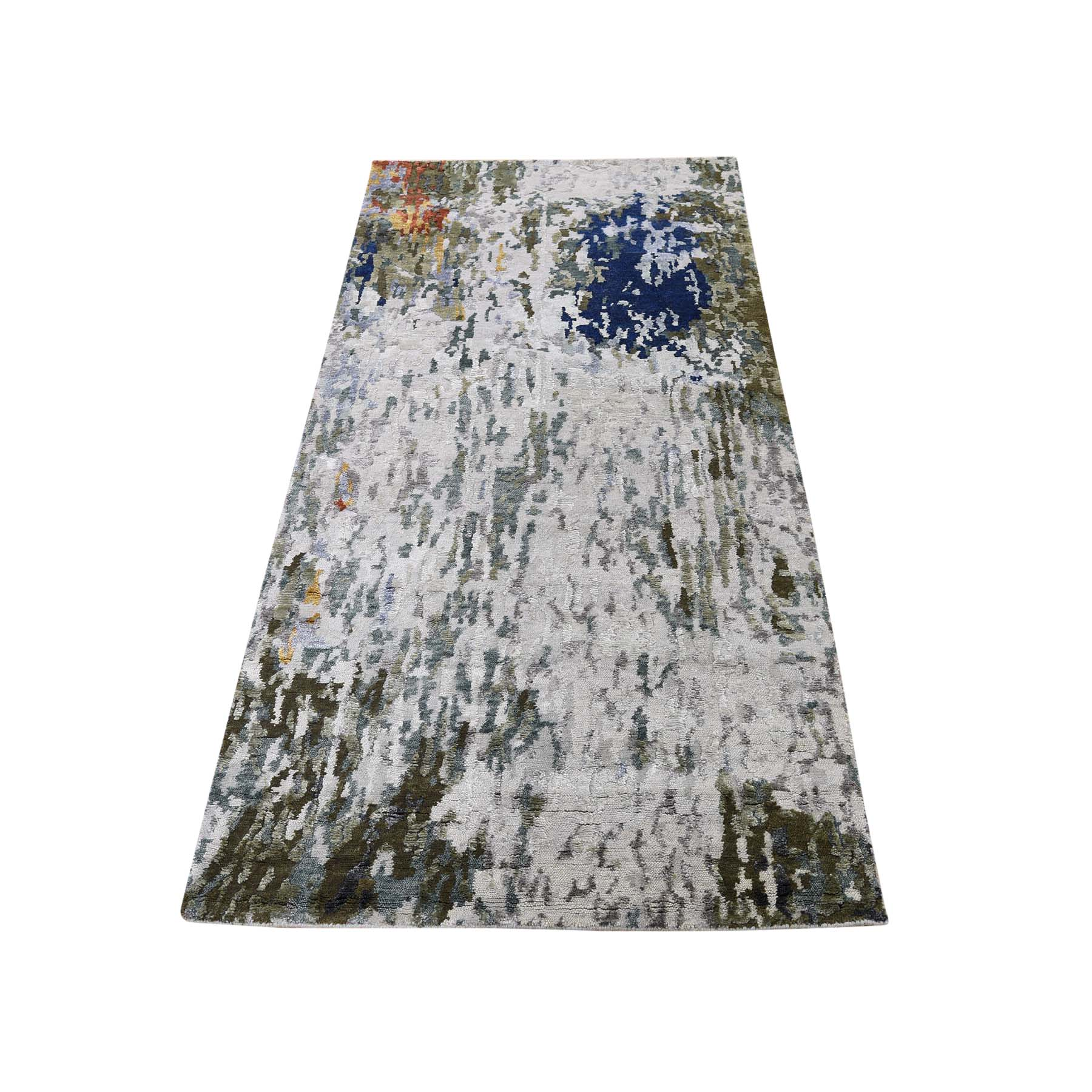 "2'7""x8' Hi-Low Pile Abstract Design Wool And Silk Runner Hand-Knotted Oriental Rug"