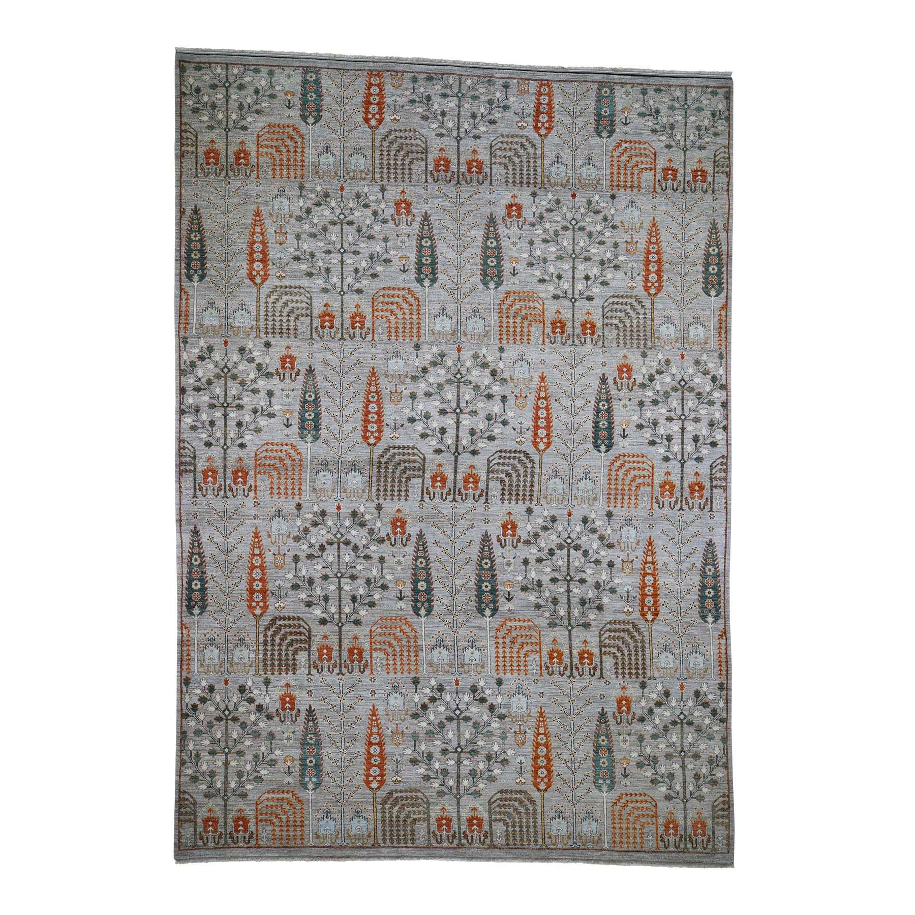 "10'X14'3"" Gray Peshawar Willow And Cypress Tree Design Hand-Knotted Oriental Rug moadee9b"