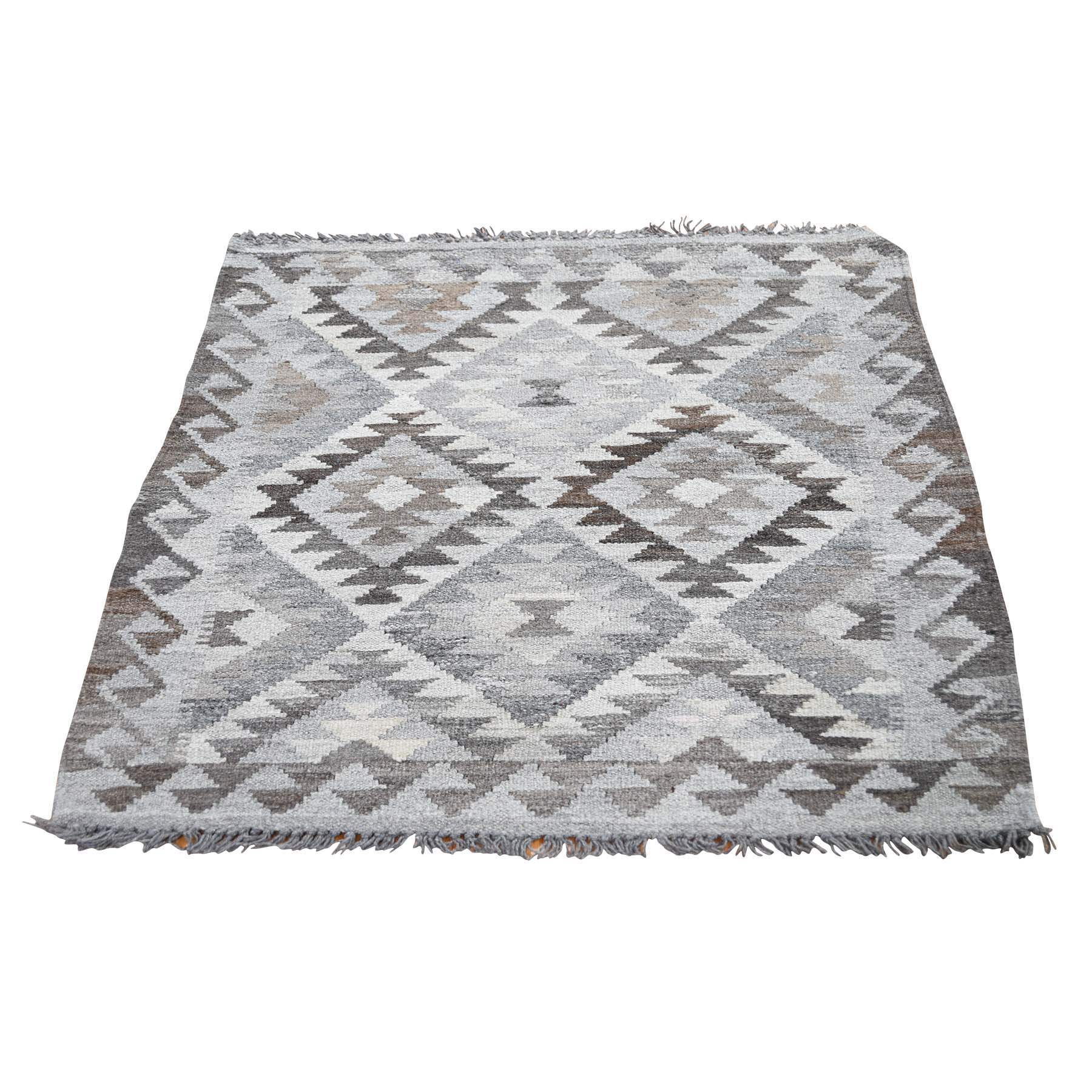 "2'10""X3'9"" Undyed Natural Wool Afghan Kilim Reversible Hand Woven Oriental Rug moade6a8"
