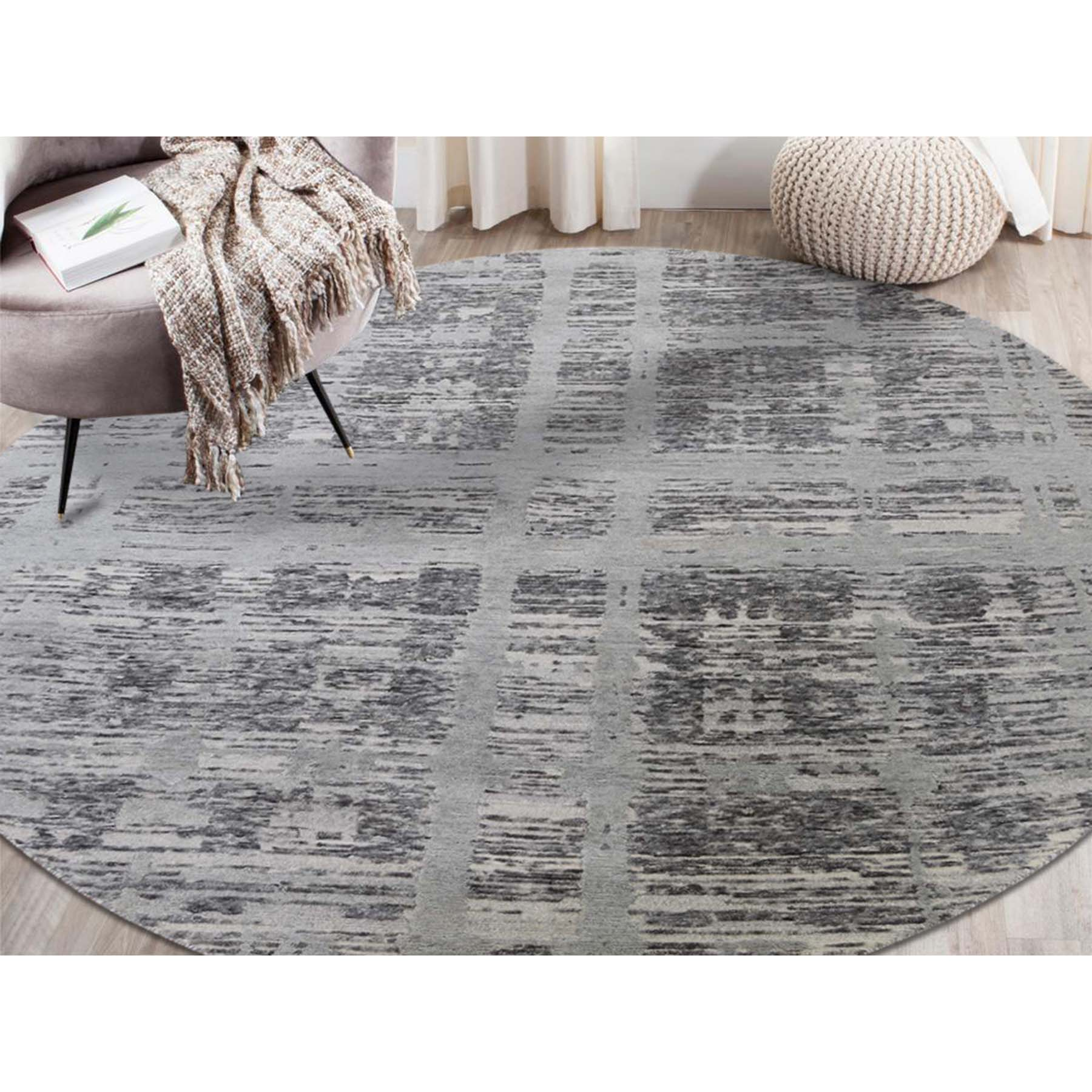 7'x7' Gray Hand Spun Undyed Natural Wool Modern Round Oriental Hand-Knotted Rug