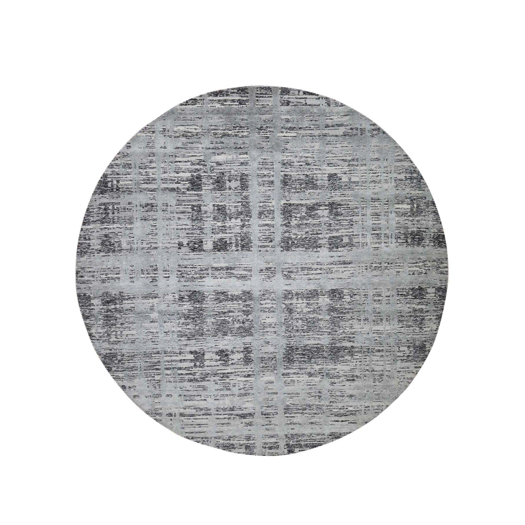 "11'10""X11'10"" Hand Spun Undyed Natural Wool Gray Modern Round Oriental Hand-Knotted Rug moade668"