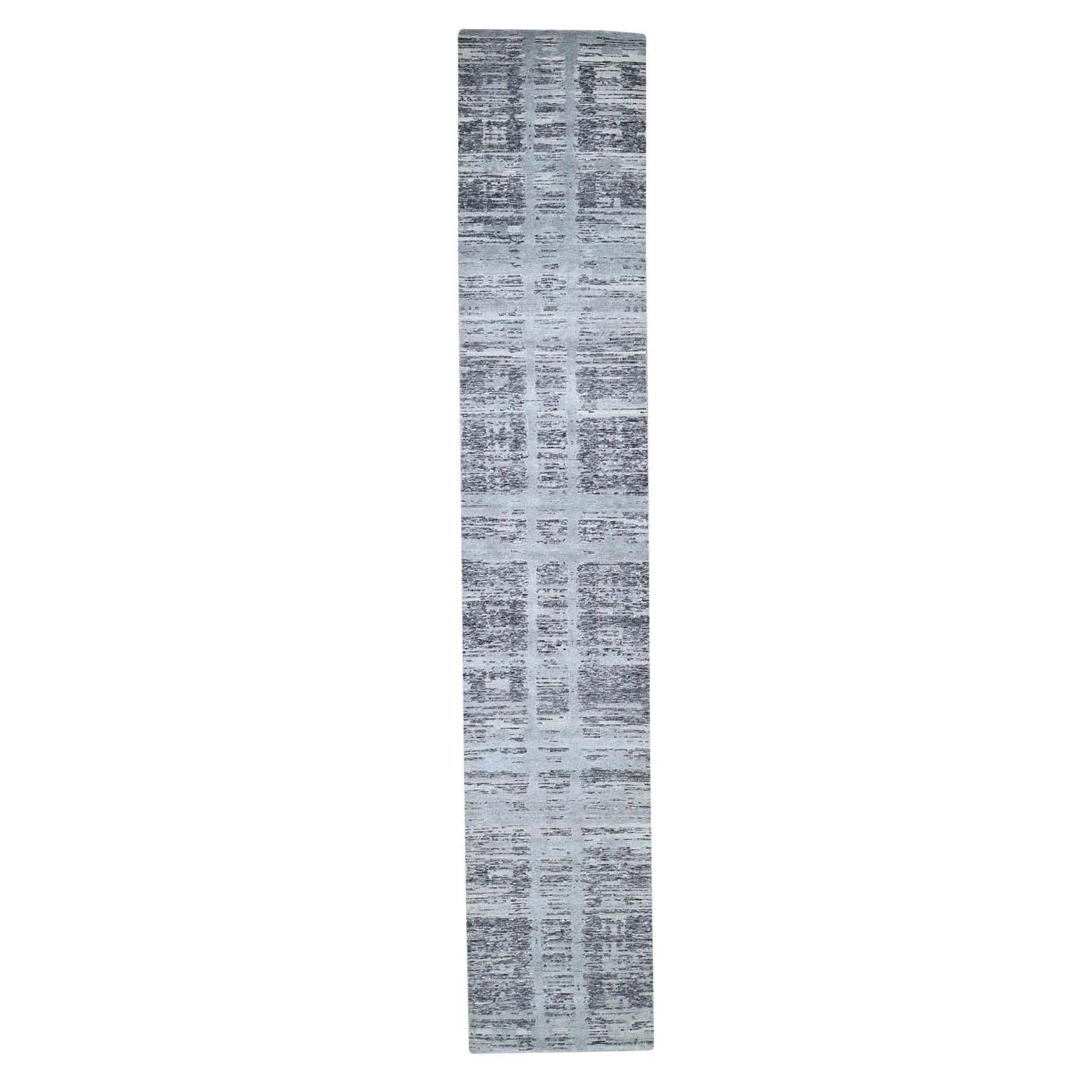 """2'6""""X12' Gray Hand Spun Undyed Natural Wool Modern Runner Oriental Hand-Knotted Rug moade670"""