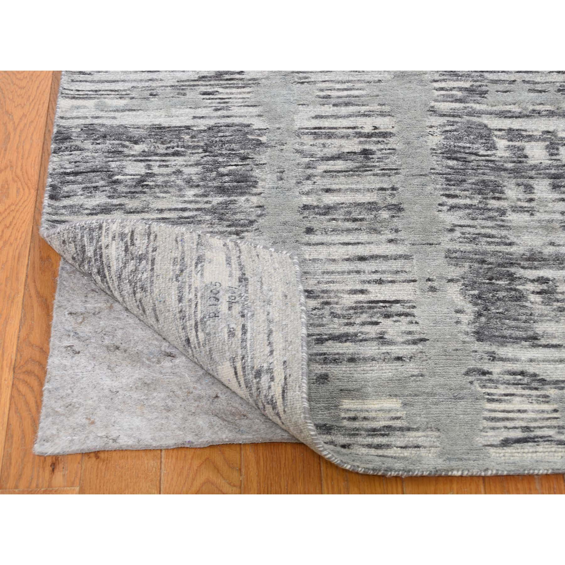 """2'7""""x16' Gray Undyed Natural Wool Hand Spun Modern XL Runner Oriental Hand-Knotted Rug"""