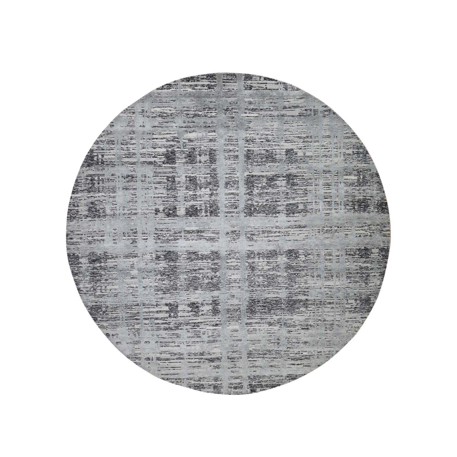 8'X8' Gray Hand Spun Undyed Natural Wool Modern Round Oriental Hand-Knotted Oriental Rug moade677